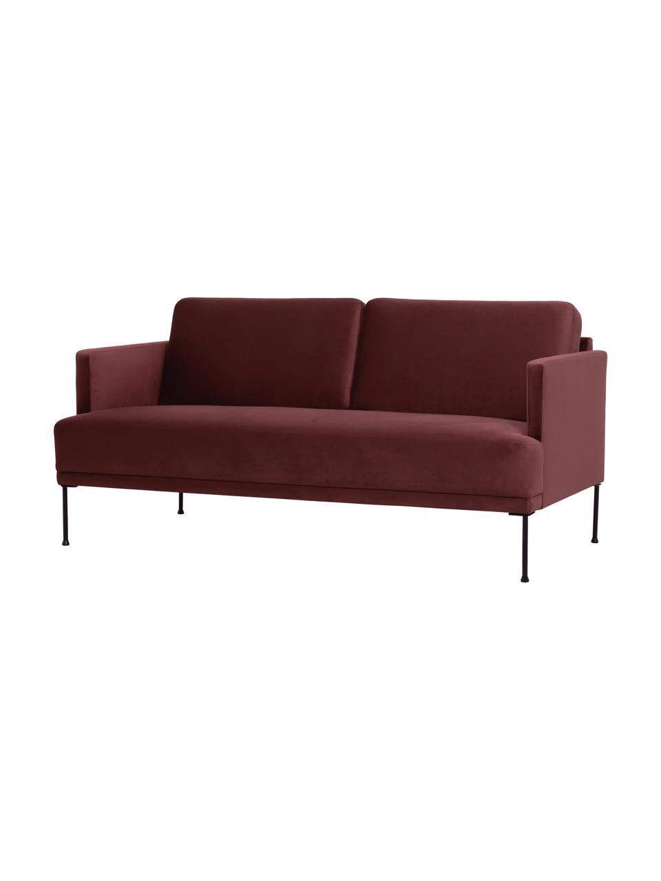 Sofa z aksamitu z metalowymi nogami Fluente (2-osobowa), Tapicerka: aksamit (wysokiej jakości, Stelaż: lite drewno sosnowe, Nogi: metal malowany proszkowo, Aksamitny rdzawoczerwony, S 166 x G 85 cm