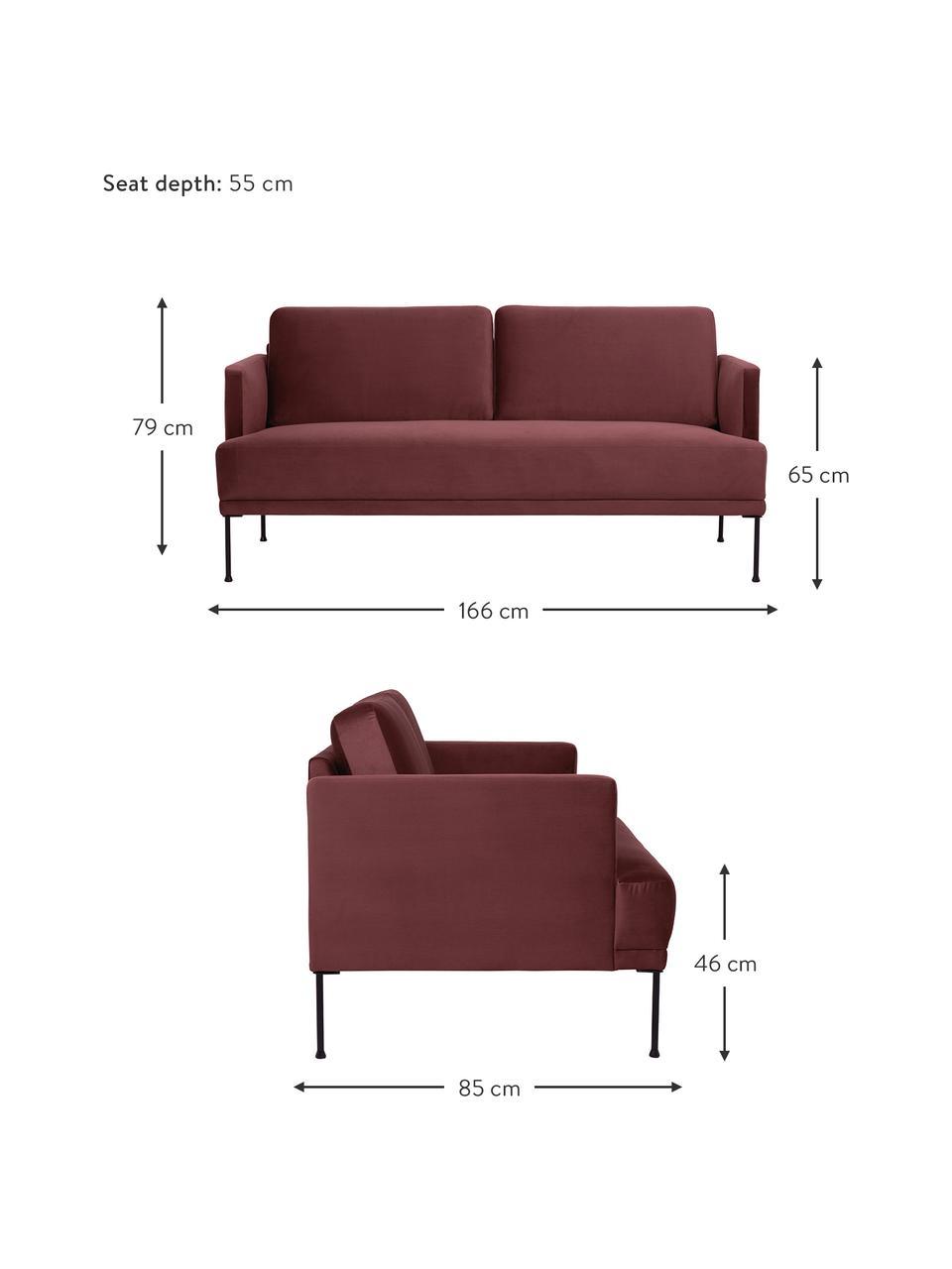 Samt-Sofa Fluente (2-Sitzer) in Rostrot mit Metall-Füßen, Bezug: Samt (Hochwertiger Polyes, Gestell: Massives Kiefernholz, Füße: Metall, pulverbeschichtet, Samt Rostrot, B 166 x T 85 cm