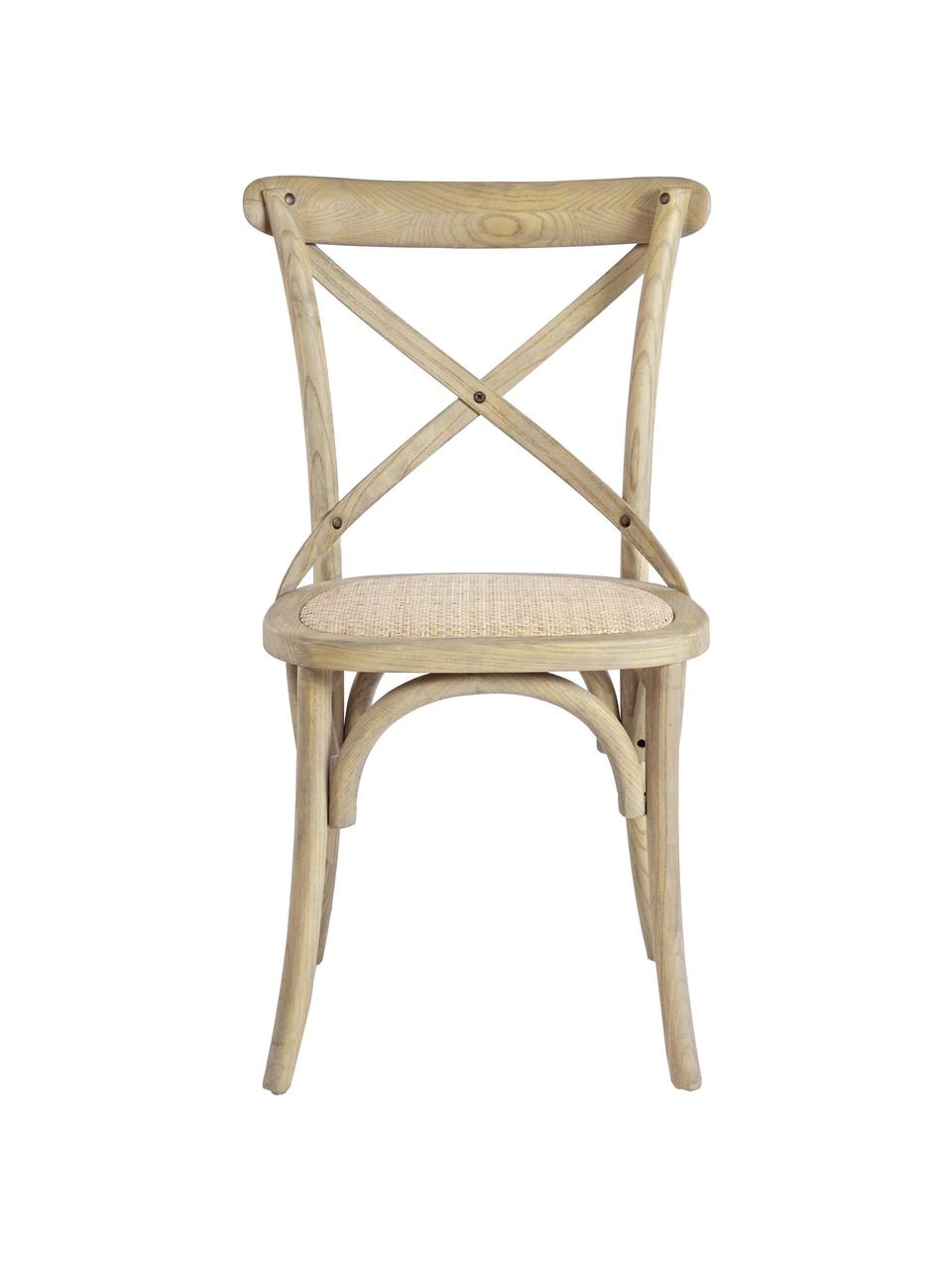 Krzesło z drewna Cross, Stelaż: drewno wiązowe, jasno lak, Brązowy, S 42 x G 46 cm