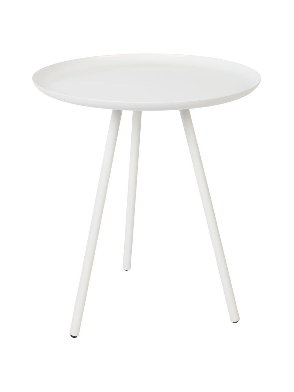 Tavolino in metallo Frost, Metallo verniciato a polvere, Bianco, Ø 39 x Alt. 45 cm