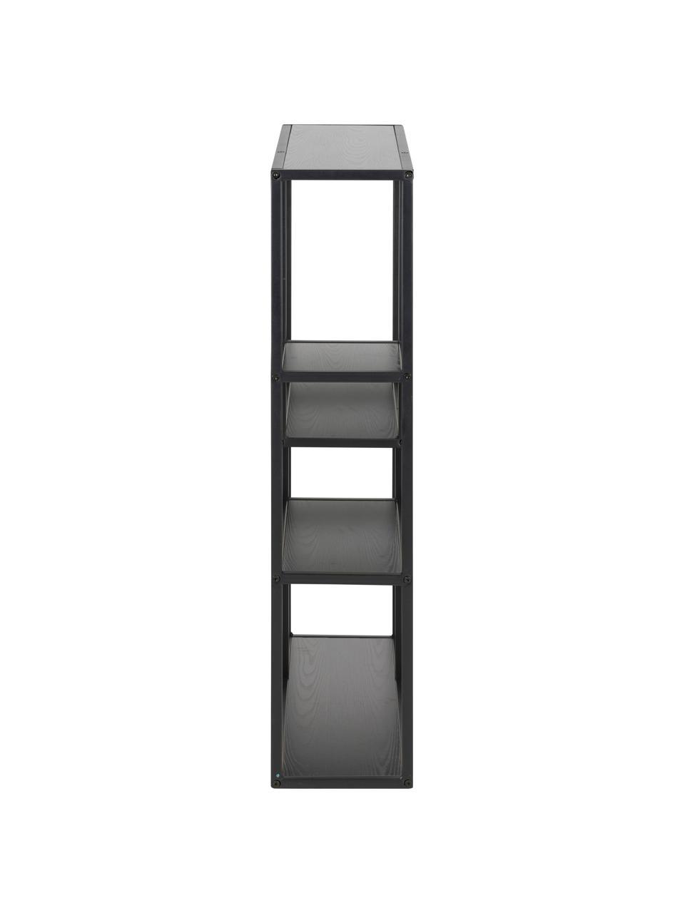 Libreria da parete in legno e metallo Seaford, Ripiani: pannello di fibra a media, Struttura: metallo verniciato a polv, Nero, Larg. 75 x Alt. 91 cm
