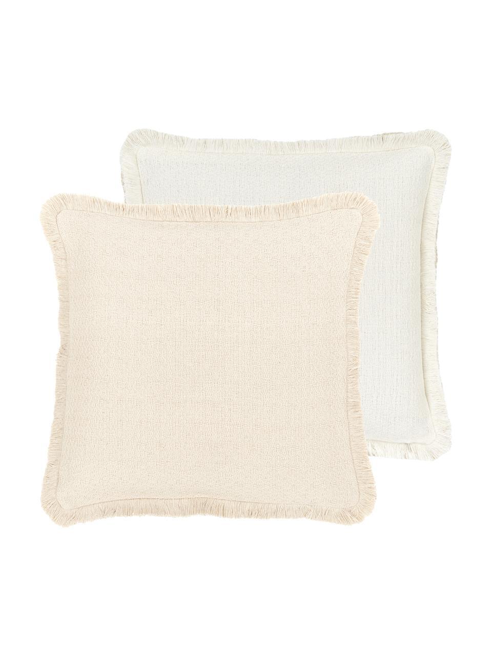 Dwustronna poszewka na poduszkę z frędzlami Loran, 100% bawełna, Beżowy, S 40 x D 40 cm