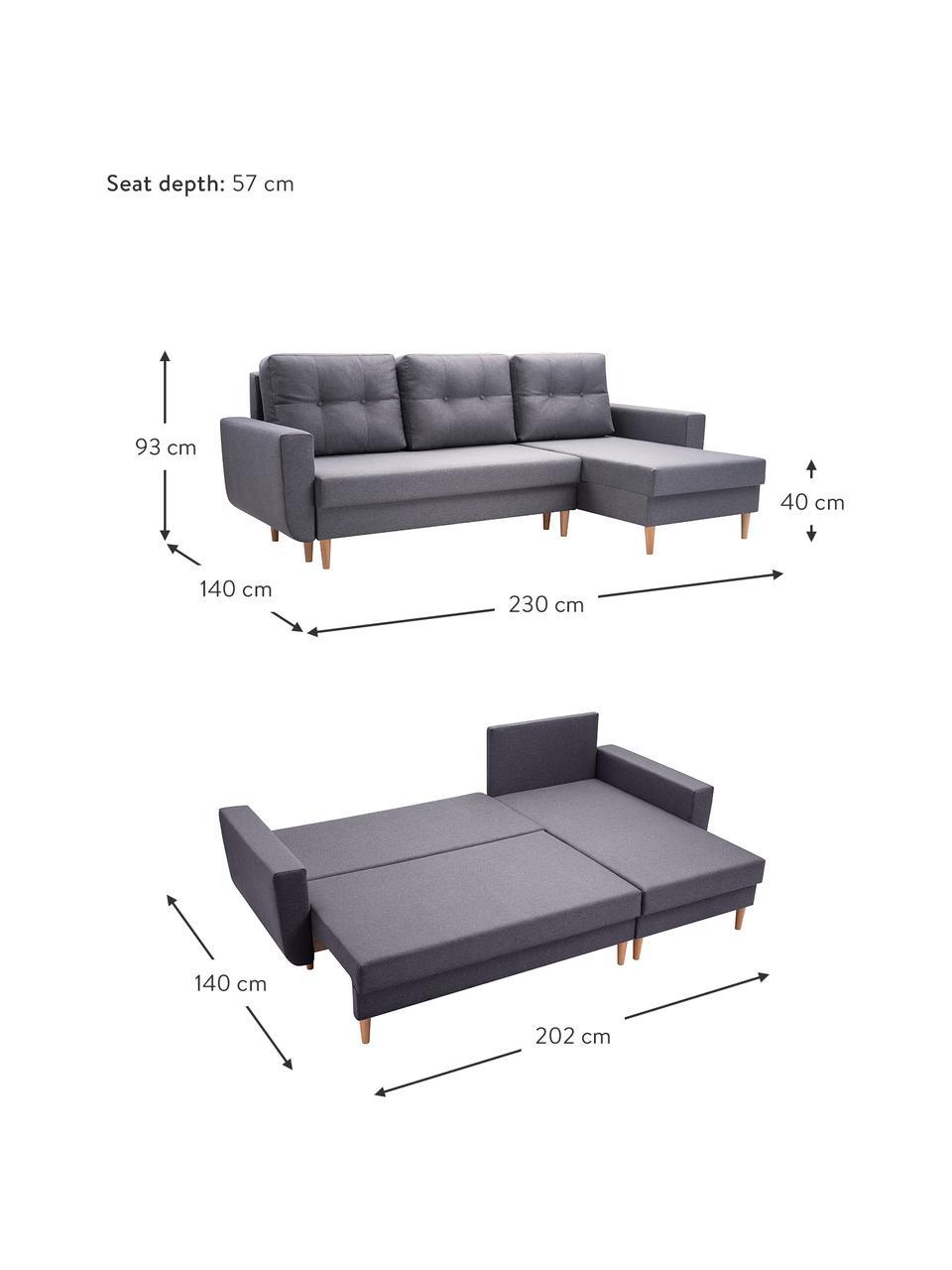 Sofa narożna z funkcją spania i miejscem do przechowywania Neo (4-osobowa), Tapicerka: 100% poliester, Szary, S 230 x G 140 cm
