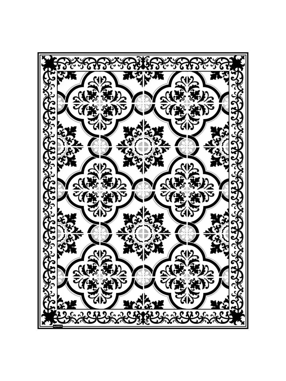 Vlakke vinyl vloermat Elena in zwart en wit, antislip, Recyclebaar vinyl, Zwart, wit, grijs, 65 x 85 cm