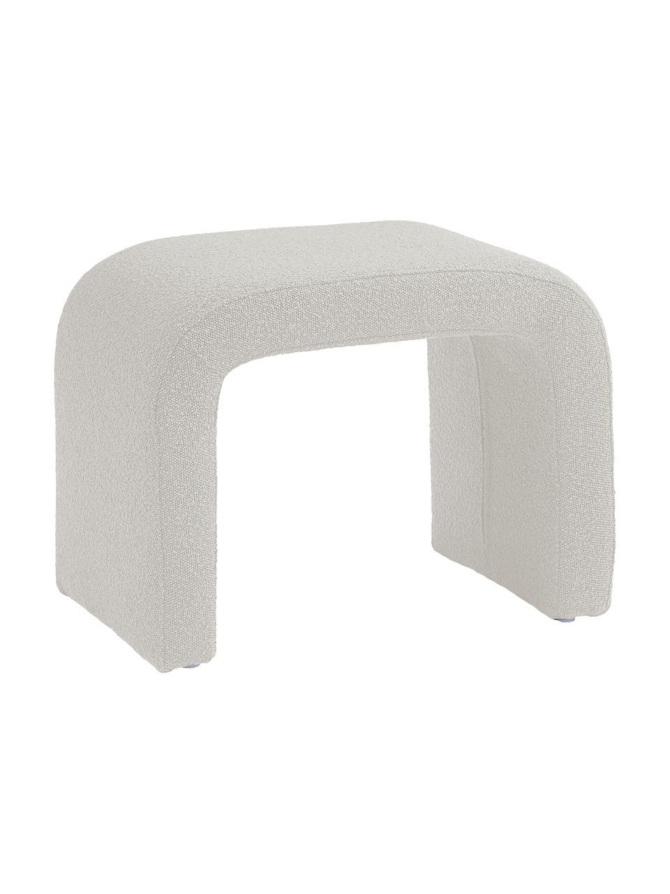 Bouclé-Hocker Penelope, Bezug: Bouclé (100% Polyester) D, Gestell: Metall, Sperrholz, Bouclé Weiß, 61 x 46 cm