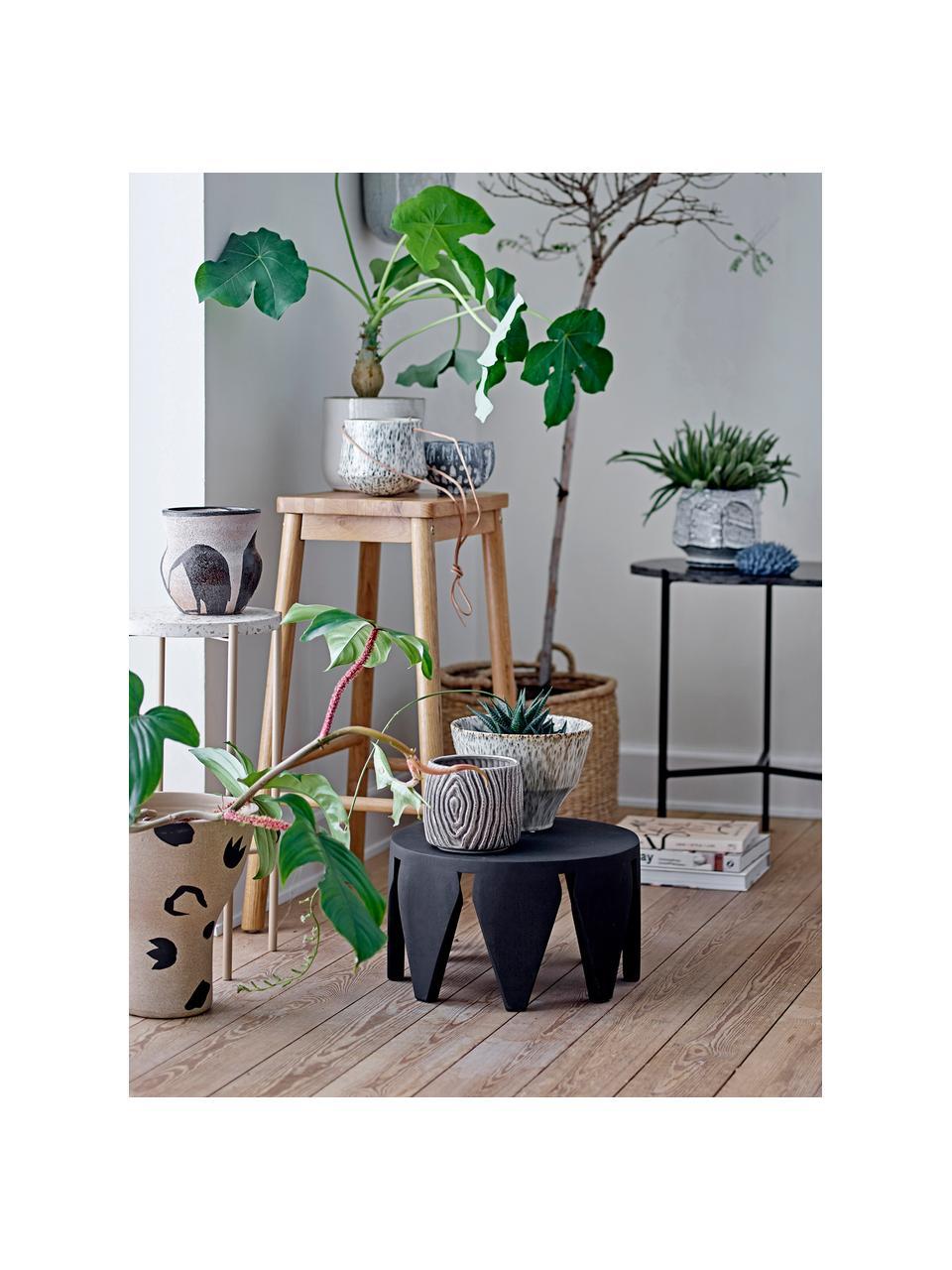 Kleine plantenpot Hena van keramiek, Keramiek, Greige, beige, Ø 14 x H 12 cm