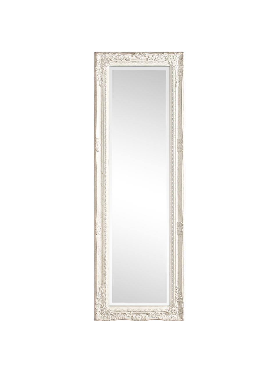 Eckiger Wandspiegel Miro mit weißem Holzrahmen, Rahmen: Holz, beschichtet, Spiegelfläche: Spiegelglas, Weiß, 42 x 132 cm