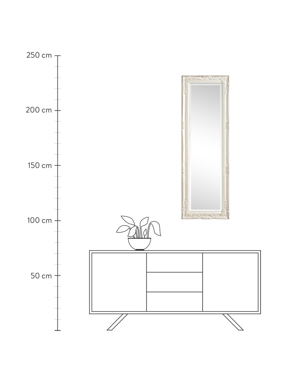 Rechthoekige wandspiegel Miro met witte houten lijst, Frame: gecoat hout, Wit, 42 x 132 cm