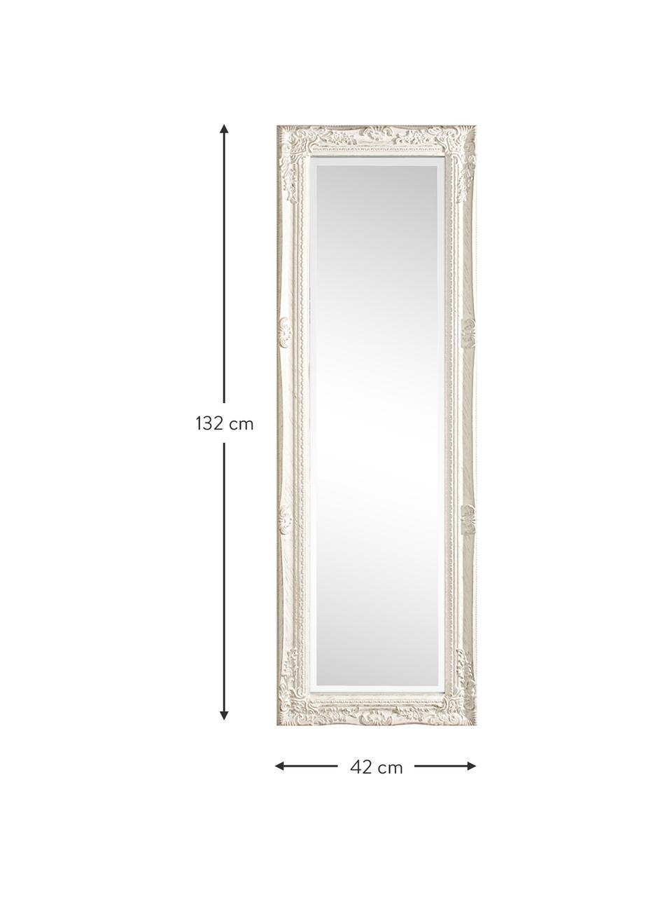 Specchio da parete quadrato con legno bianco Miro, Cornice: legno di paulownia rivest, Superficie dello specchio: lastra di vetro, Bianco, Larg. 42 x Alt. 132 cm