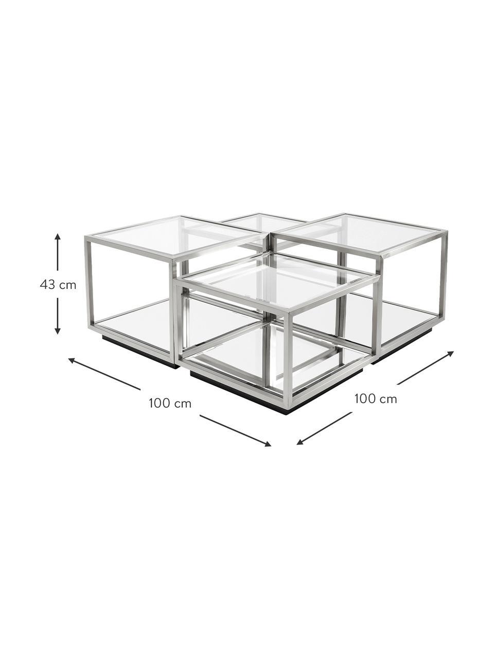Set 4 tavolini da salotto con piano in vetro Luigi, Struttura: acciaio inossidabile luci, Sottostruttura: lastra di vetro, Piedini: pannello di fibra a media, Argentato, Set in varie misure