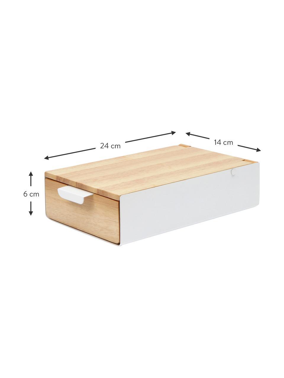 Schmuckbox Reflexion, Box: Metall, lackiert, Holz, Box: Weiß, Holz Innenfutter: Grau Deckel innen: Spiegelglas, 24 x 6 cm