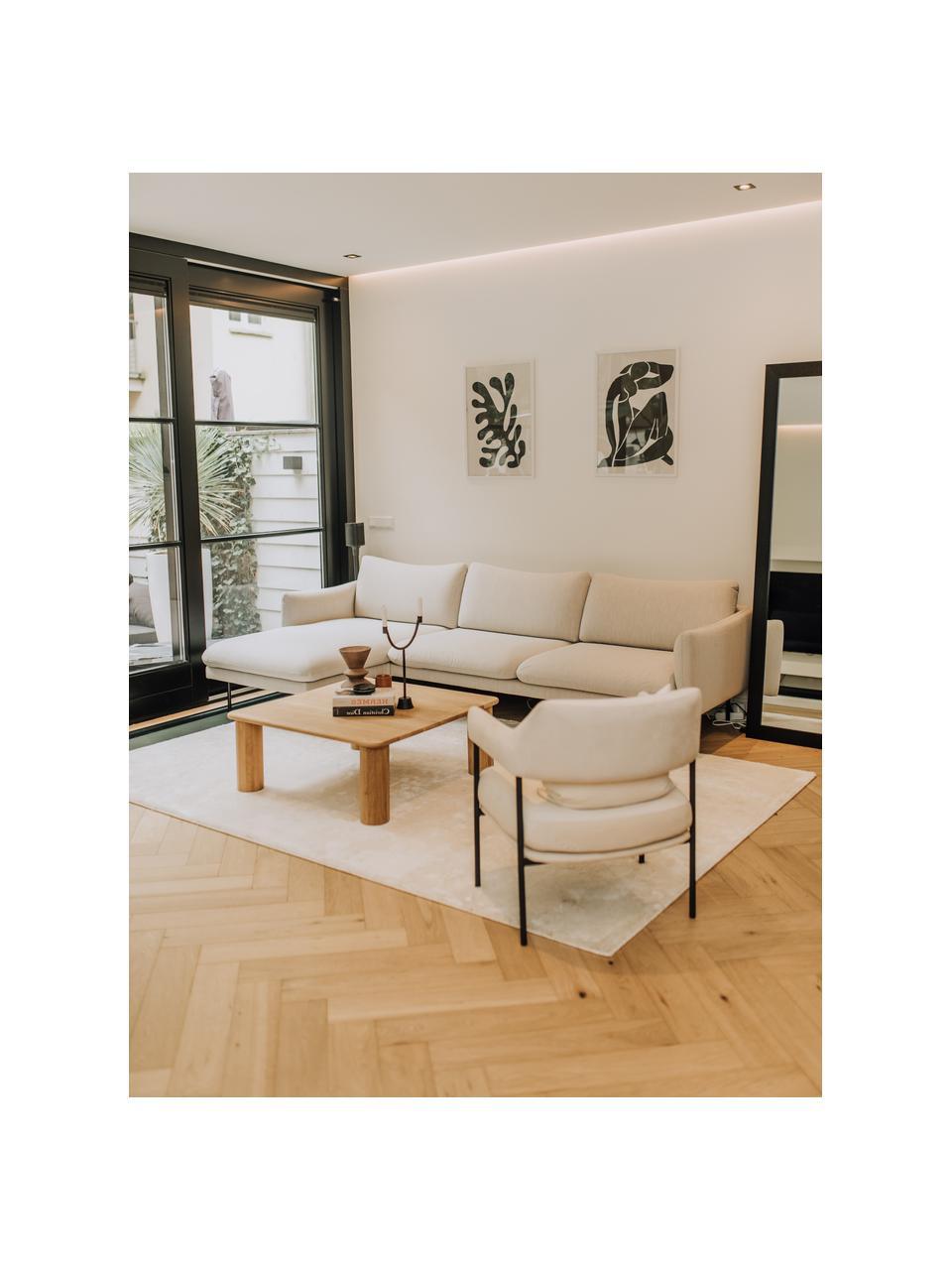 Hoekbank Moby in beige met metalen poten, Bekleding: polyester, Frame: massief grenenhout, Poten: gepoedercoat metaal, Beige, B 280 x D 160 cm