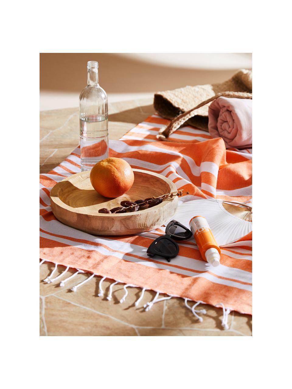 Ręcznik plażowy z frędzlami Stripy, Bawełna Bardzo niska gramatura, 185 g/m², Pomarańczowy, biały, S 95 x D 175 cm