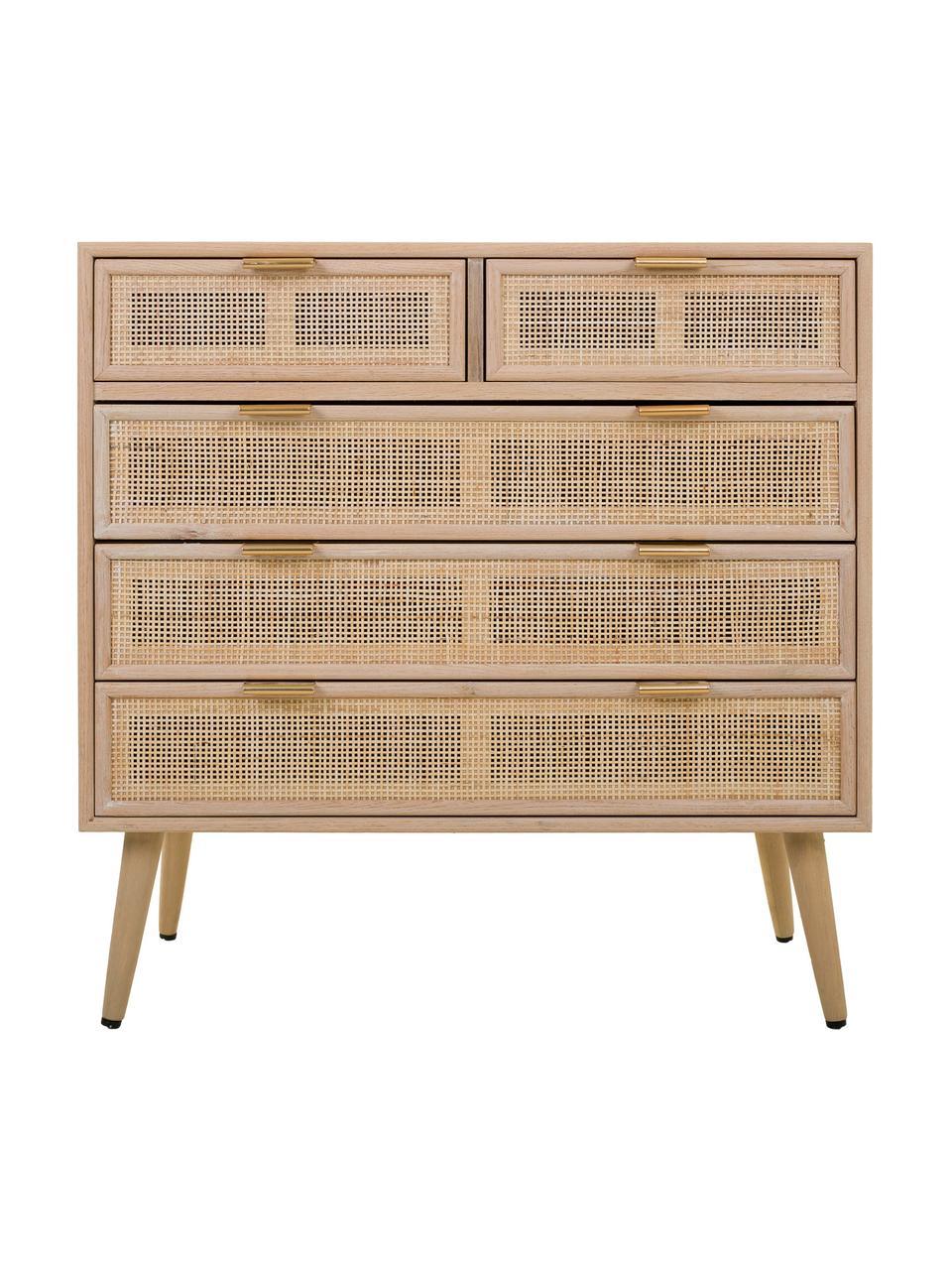Komoda z drewna Cayetana, Korpus: płyta pilśniowa średniej , Nogi: drewno bambusowe, lakiero, Brązowy, S 80 x W 81 cm