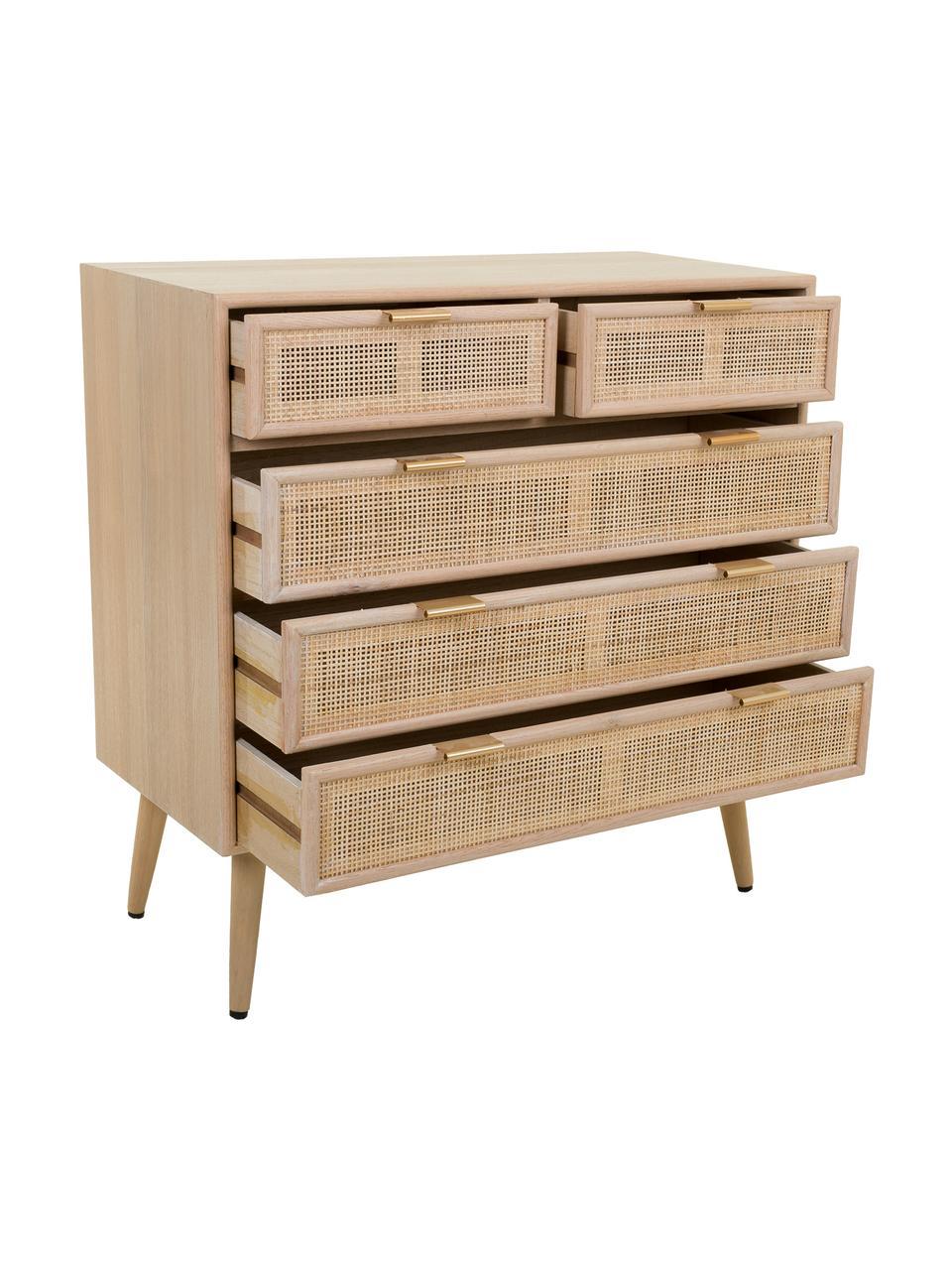 Cassettiera in legno Cayetana, Piedini: legno di bambù verniciato, Marrone, Larg. 80 x Alt. 81 cm