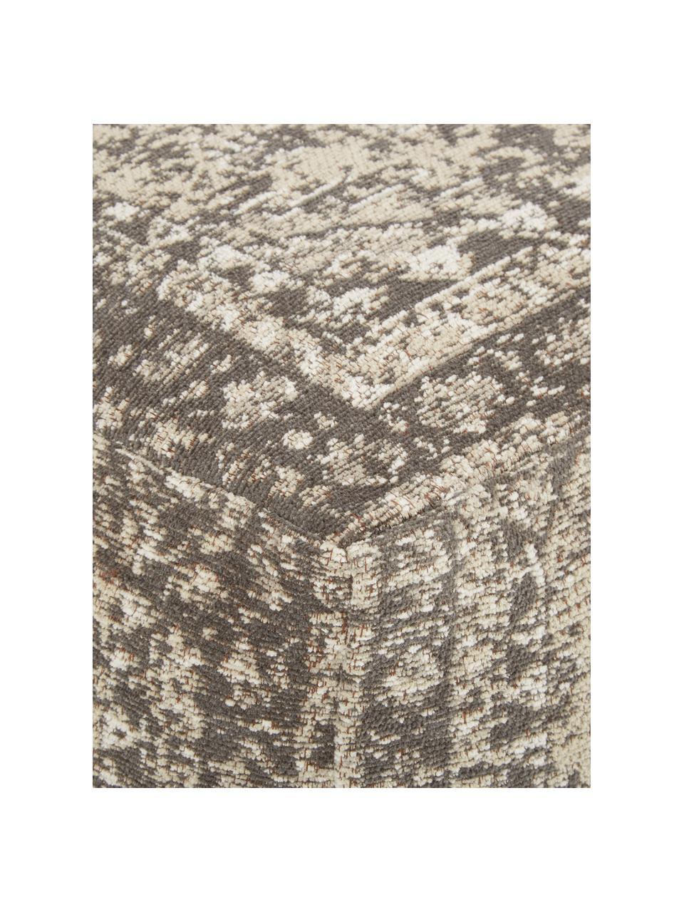 Vintage-Bodenkissen Rebel, Bezug: 95% Baumwolle, 5% Polyest, Dunkelgrau, Creme, 70 x 26 cm