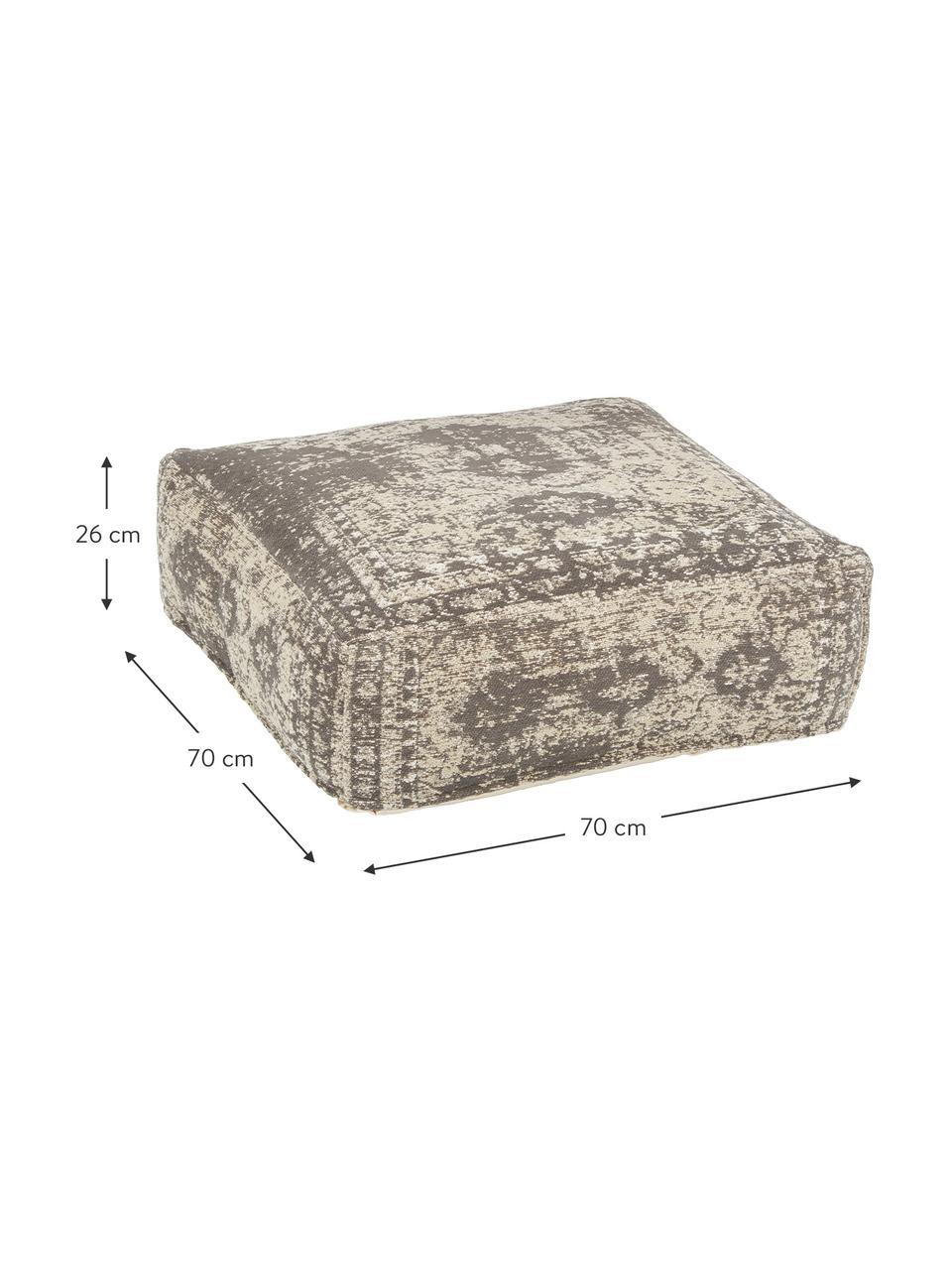 Poduszka podłogowa vintage Rebel, Tapicerka: 95% bawełna, 5% poliester, Ciemnyszary, kremowy, S 70 x W 26 cm