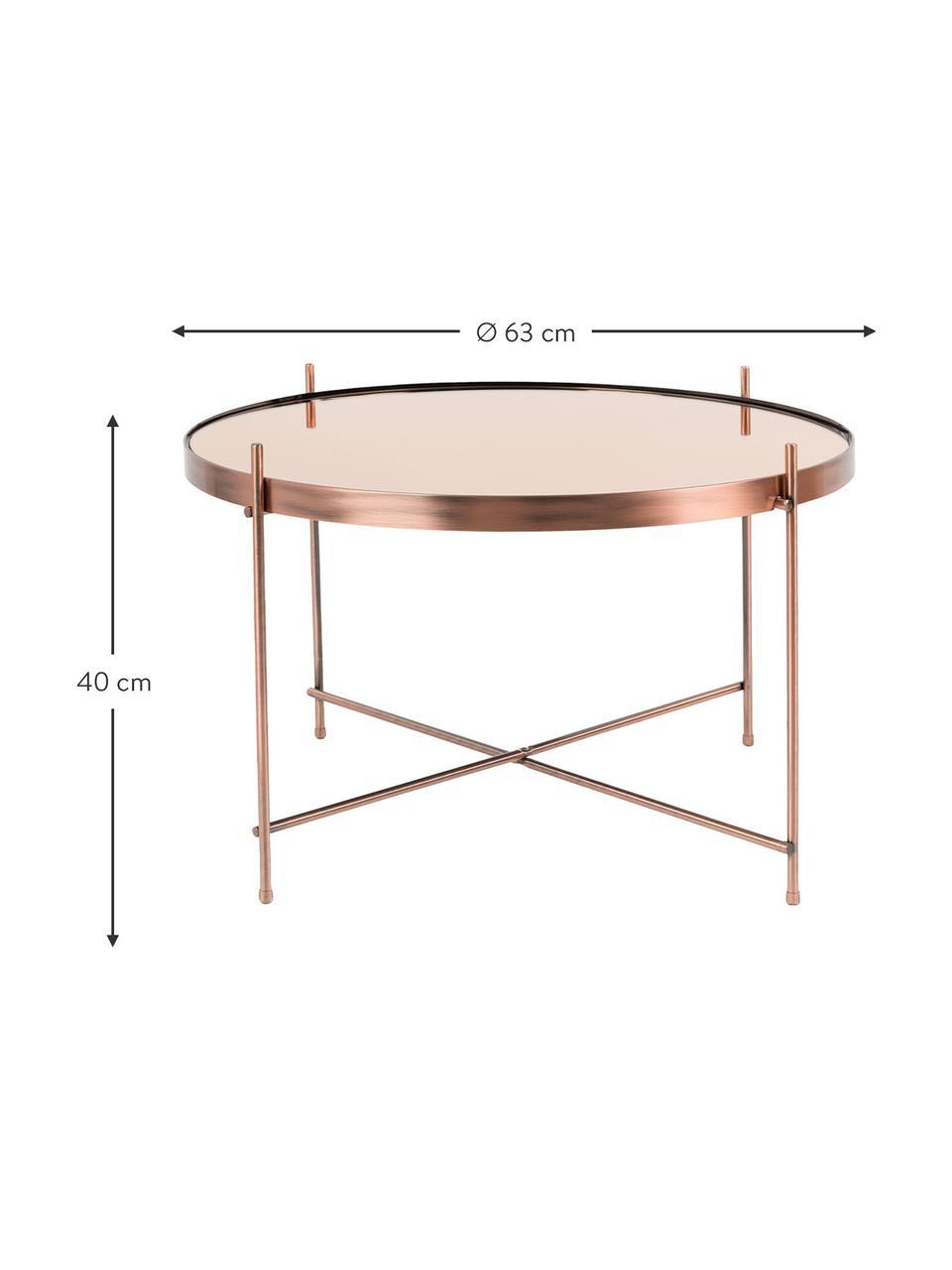 Tavolino rotondo da salotto con piano in vetro Cupid, Struttura: ferro ramato, Rame, Ø 63 x Alt. 40 cm