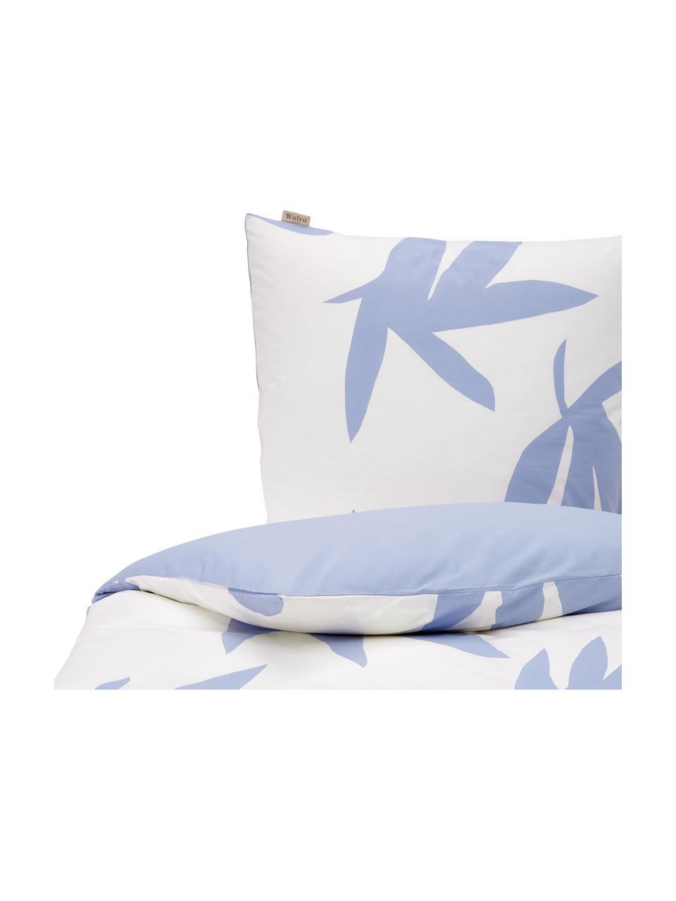 Baumwoll-Bettwäsche Simple Leaves mit Blättermotiv in Blau, Webart: Renforcé Fadendichte 144 , Weiß, Blau, 155 x 220 cm + 1 Kissen 80 x 80 cm