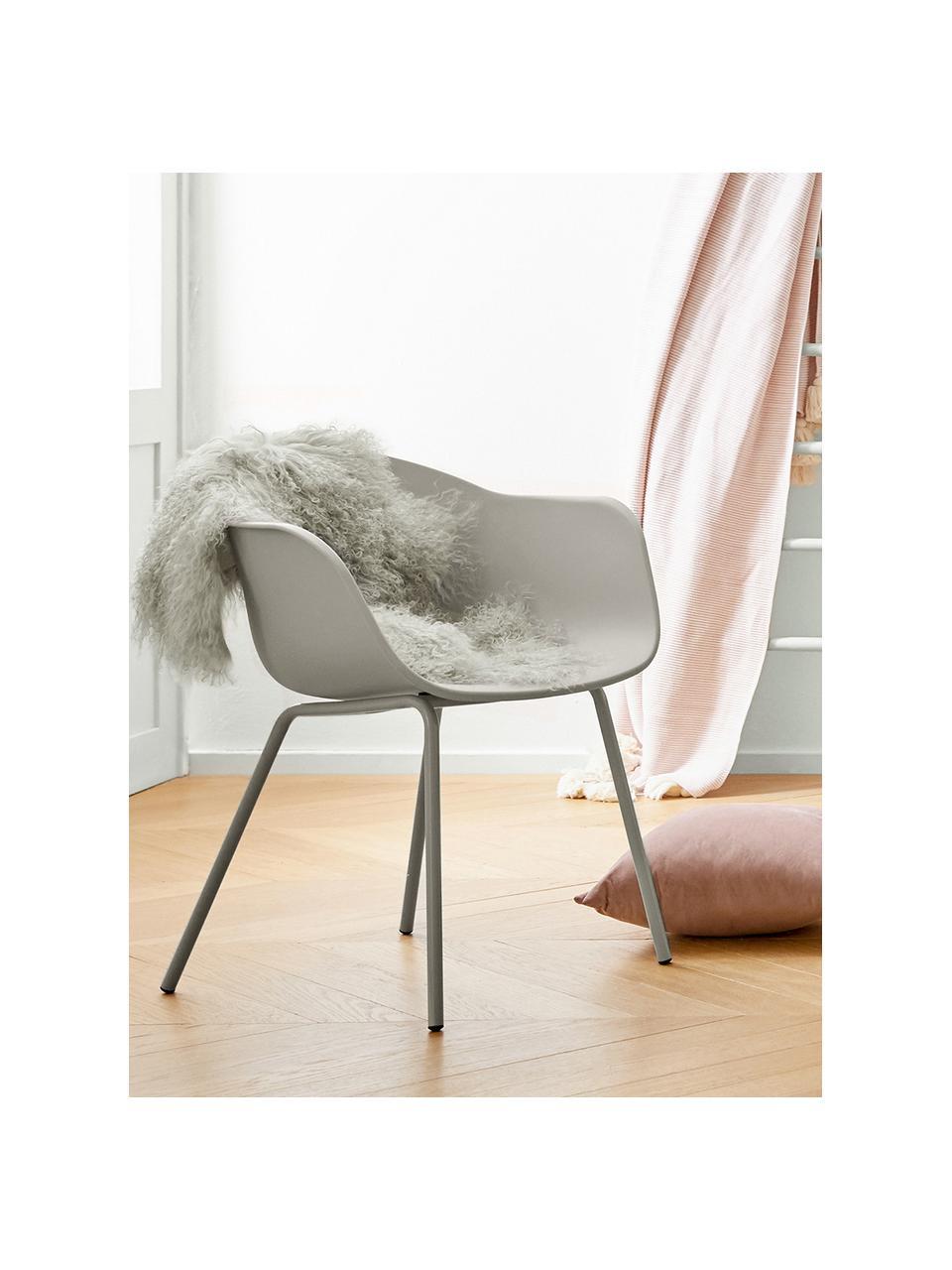 Sedia con braccioli in plastica con gambe in metallo Claire, Seduta: materiale sintetico, Gambe: metallo verniciato a polv, Grigio beige, Larg. 60 x Alt. 54 cm