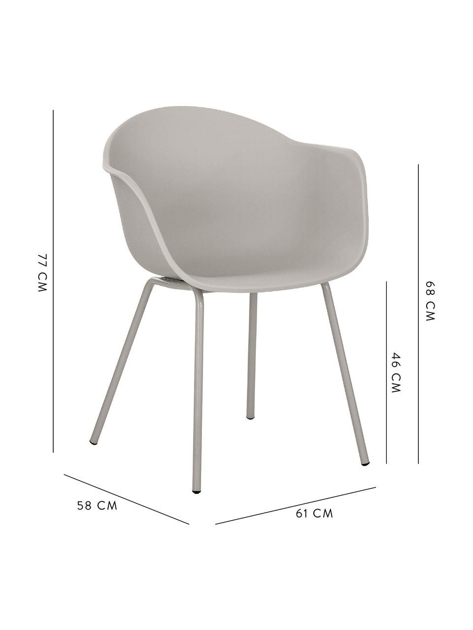 Krzesło z podłokietnikami z tworzywa sztucznego Claire, Nogi: metal malowany proszkowo, Beżowoszary, S 60 x G 54 cm