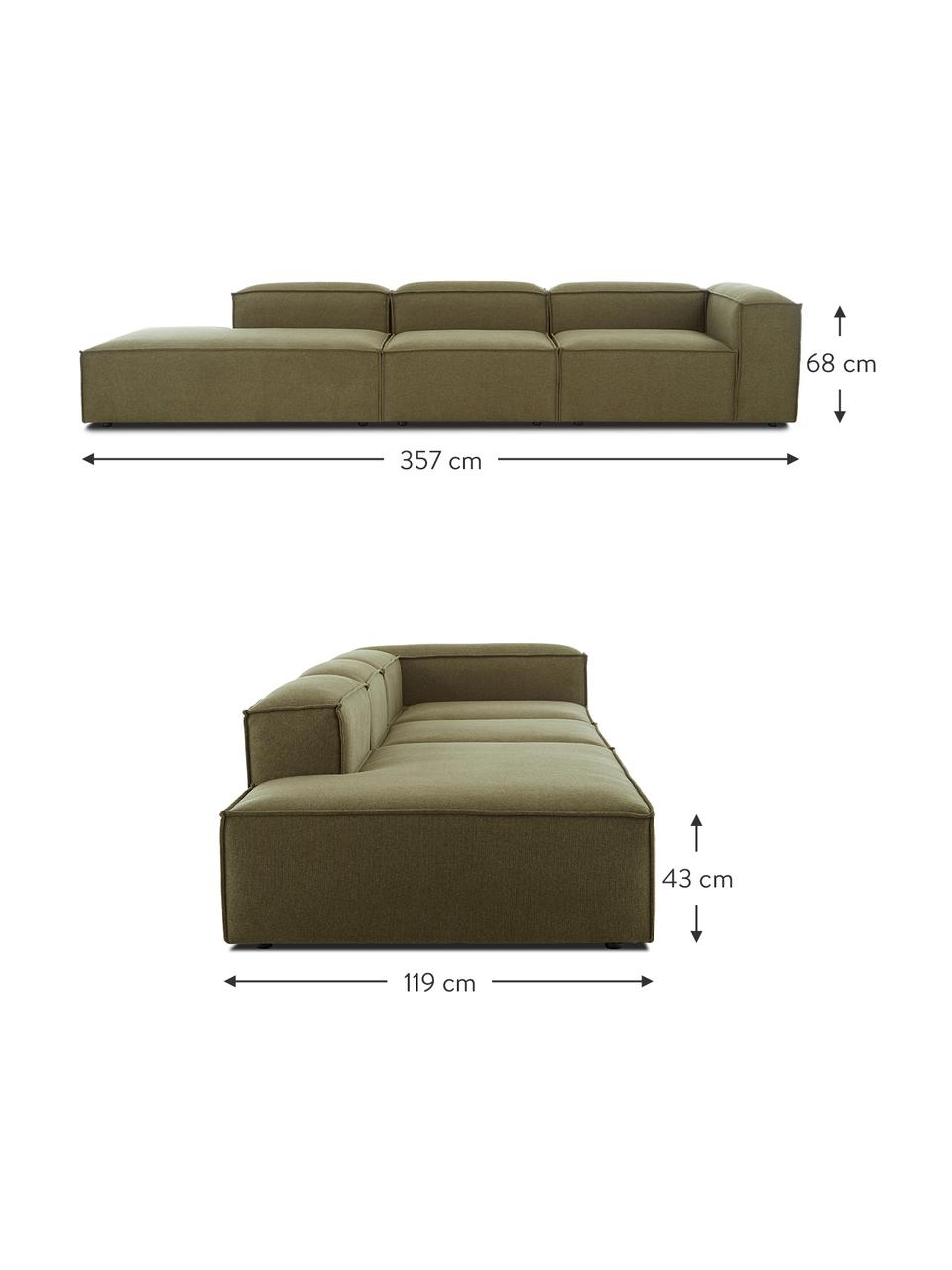 Grand canapé méridienne modulable vert Lennon, Tissu vert
