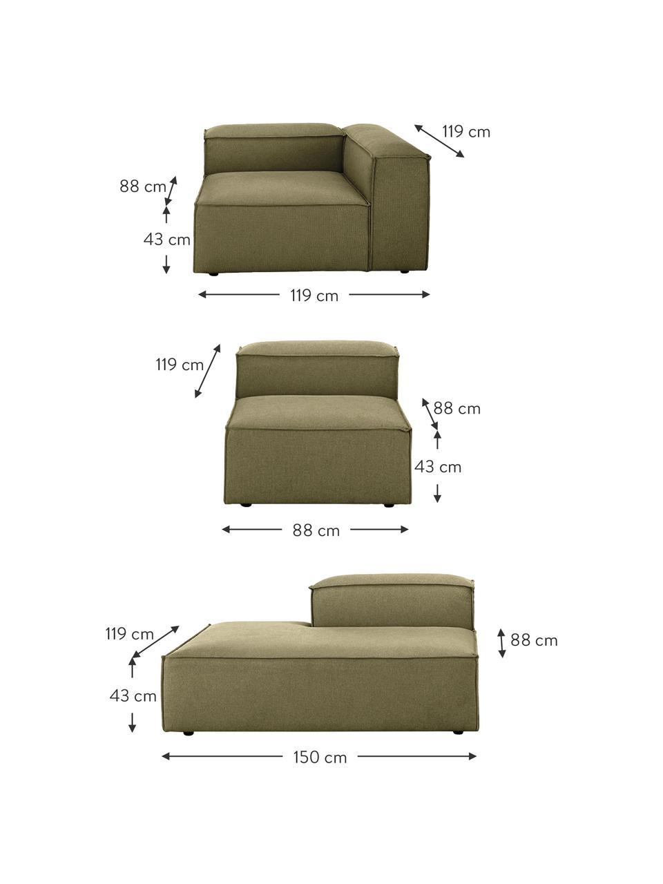 Modulaire XL chaise longue Lennon in groen, Bekleding: polyester De hoogwaardige, Frame: massief grenenhout, multi, Poten: kunststof De poten bevind, Geweven stof groen, B 357 x D 119 cm
