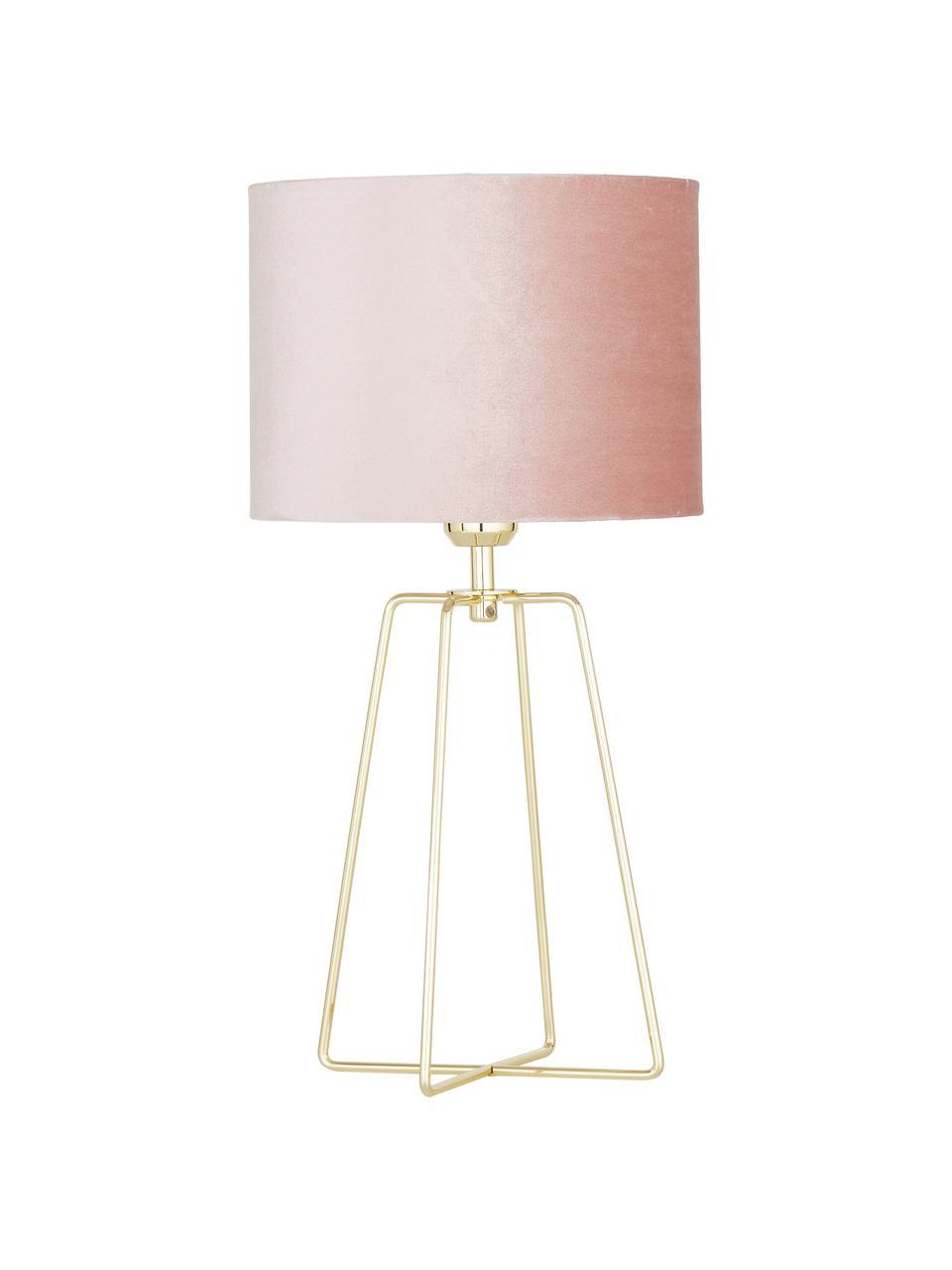 Lampada da tavolo con base dorata Karolina, Paralume: velluto, Base della lampada: metallo ottonato, Rosa cipria ottone, lucido trasparente, Ø 25 x Alt. 49 cm