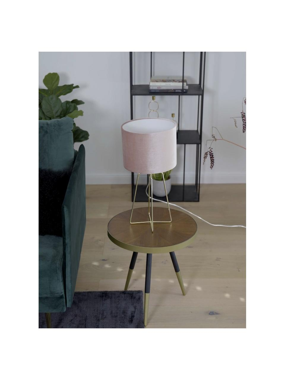Samt-Tischlampe Karolina in Rosa, Lampenschirm: Samt, Lampenfuß: Metall, vermessingt, Altrosa Messing, glänzend Transparent, Ø 25 x H 49 cm