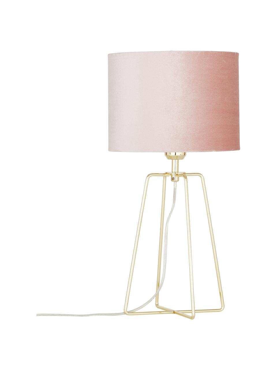 Lampa stołowa z aksamitu Karolina, Brudny różowy mosiądz, błyszczący transparentny, Ø 25 x W 49 cm
