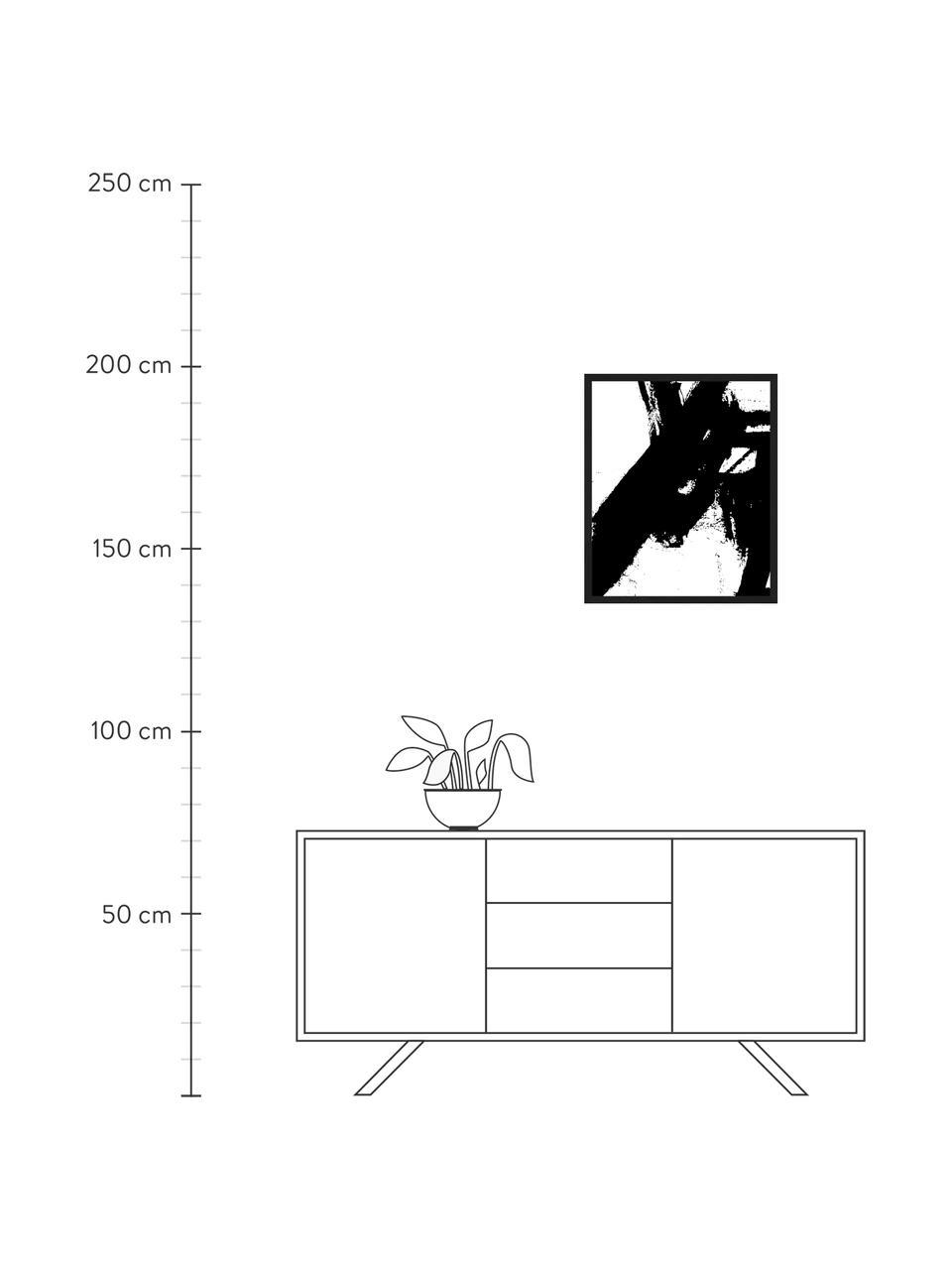Gerahmter Digitaldruck Franz Kline V1, Bild: Digitaldruck auf Papier, , Rahmen: Holz, lackiert, Front: Plexiglas, Schwarz, Weiß, 53 x 63 cm