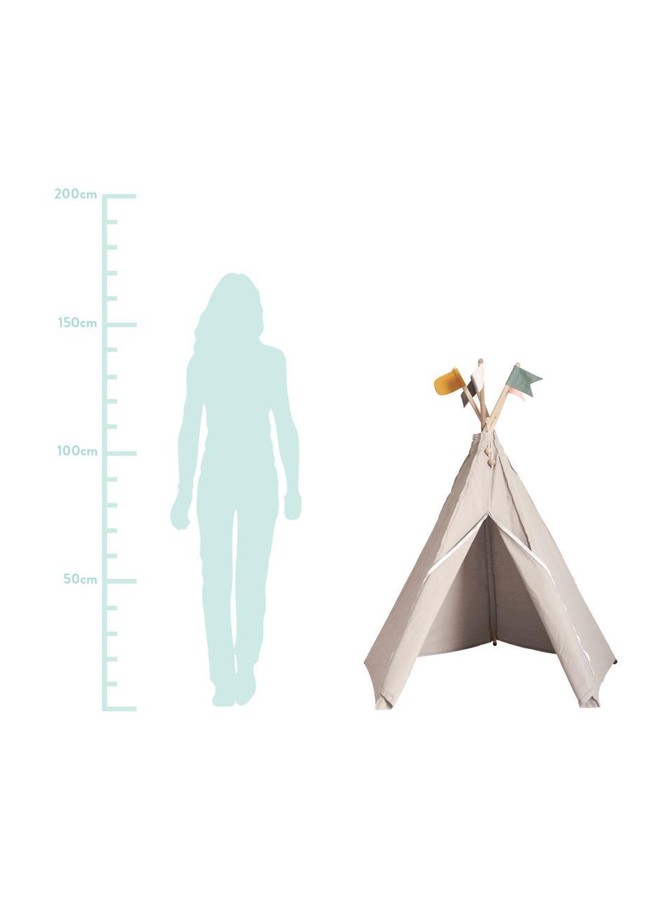 Tipi dla dzieci z bawełny organicznej Hippie, 100% bawełna organiczna, Szary, matowy, S 135 x W 135 cm