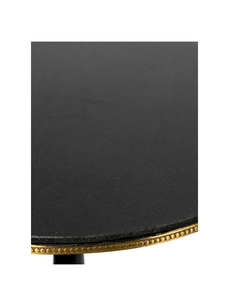 Okrągły stół do jadalni z granitu Own The Glow, Blat: granitowy, Czarny, odcienie złotego, Ø 65 x W 76 cm