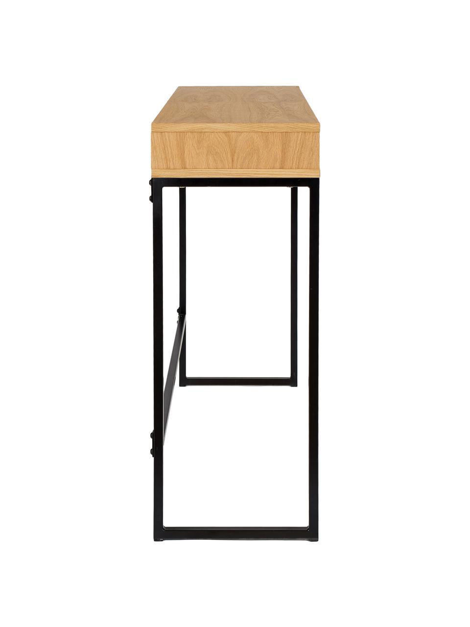 Scrivania alta Frame, Gambe: metallo verniciato a polv, Legno di quercia, Larg. 100 x Prof. 35 cm