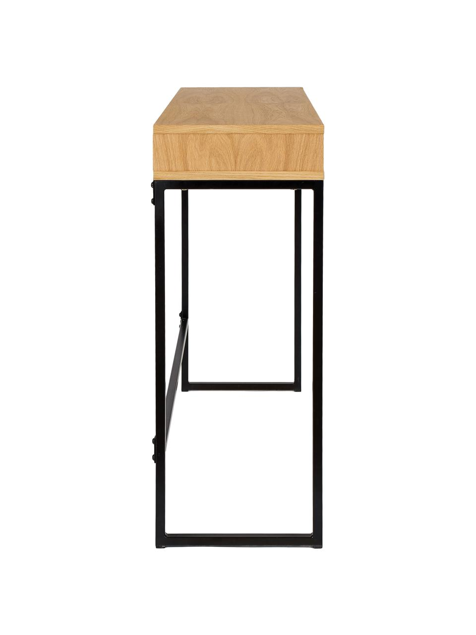 Wąskie biurko do pracy na stojąco Frame, Korpus: płyta pilśniowa średniej , Nogi: metal malowany proszkowo, Drewno dębowe, S 100 x G 35 cm