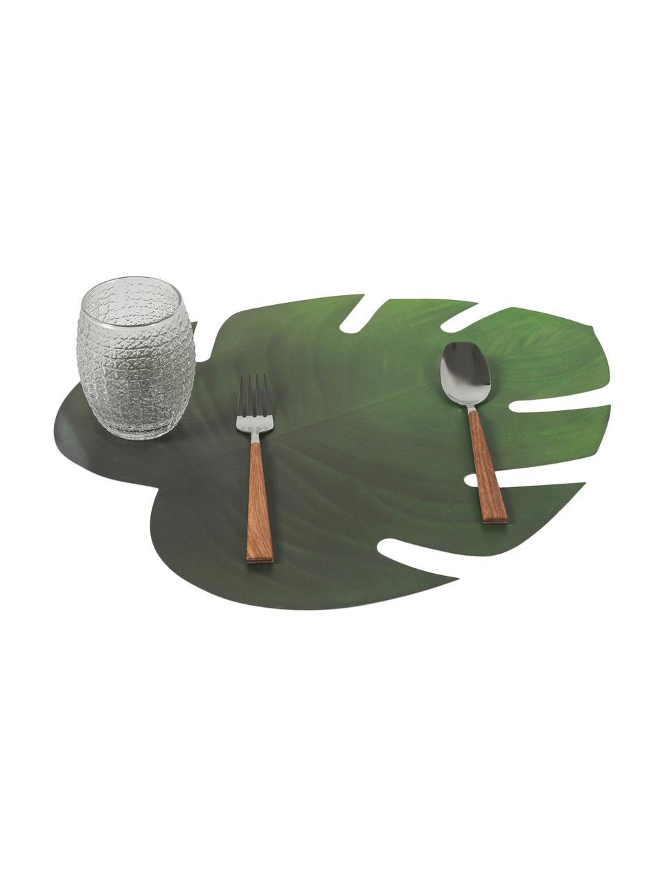Tovaglietta americana a forma di foglia Jungle 6 pz, Materiale sintetico (PCV), Verde, Larg. 37 x Lung. 47 cm