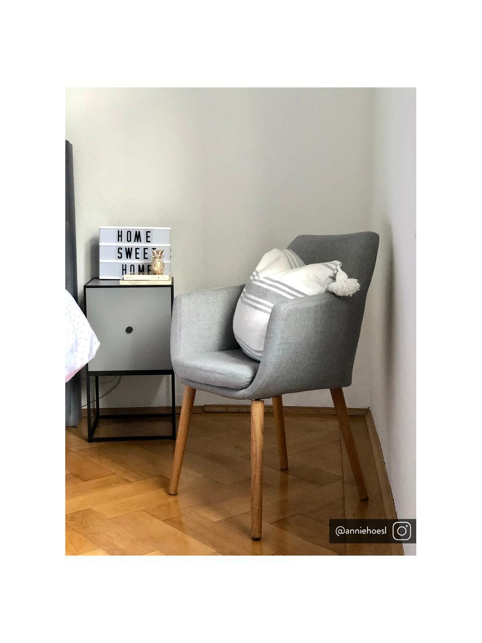Armlehnstuhl Nora mit Holzbeinen, Bezug: 100% Polyester Der Bezug , Beine: Eichenholz, Webstoff Hellgrau, Beine Eiche, B 58 x T 58 cm