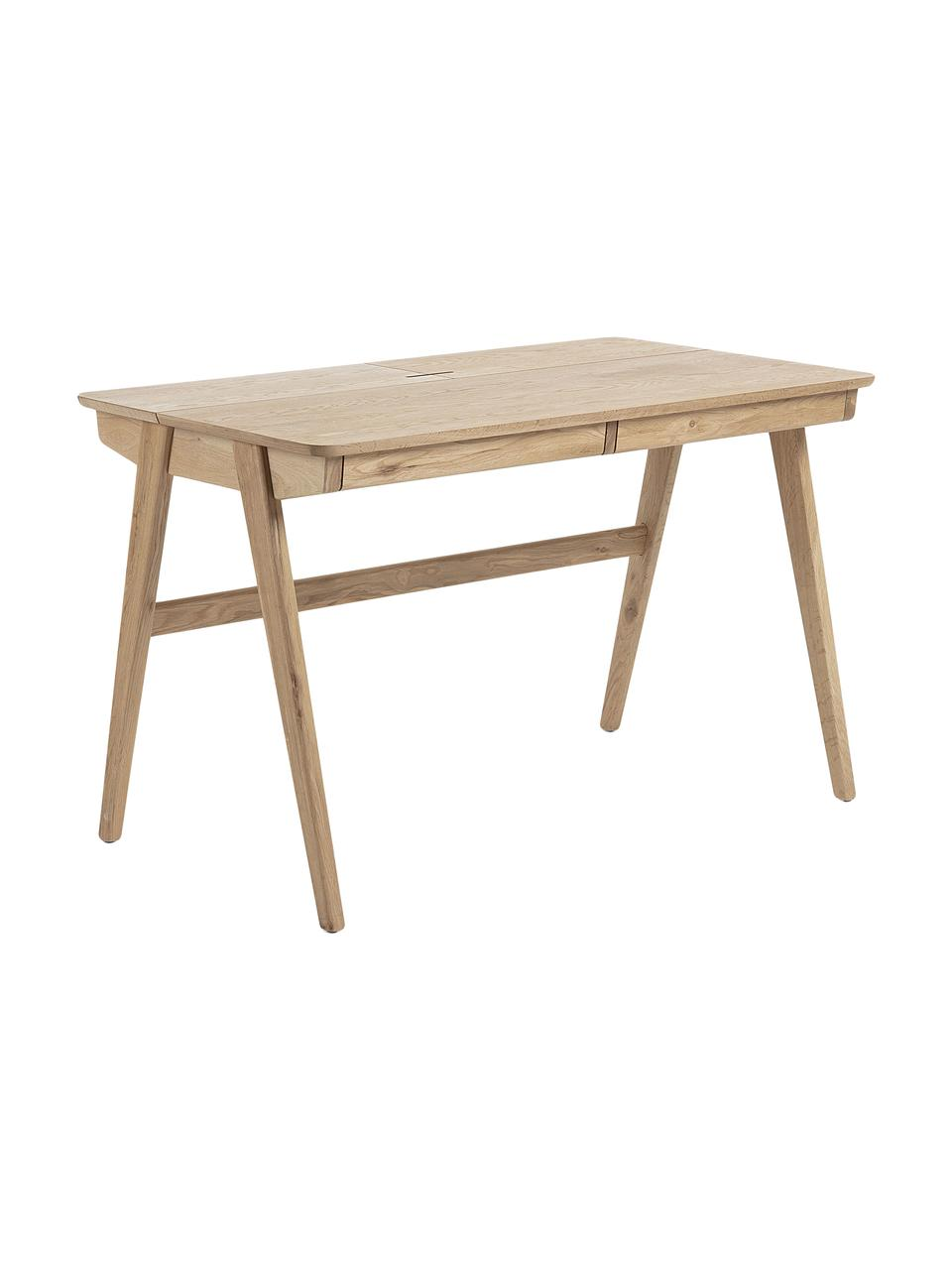 Scrivania in legno con uscita cavo Jacques, Gambe: rovere massiccio, Marrone, Larg. 120 x Alt. 75 cm