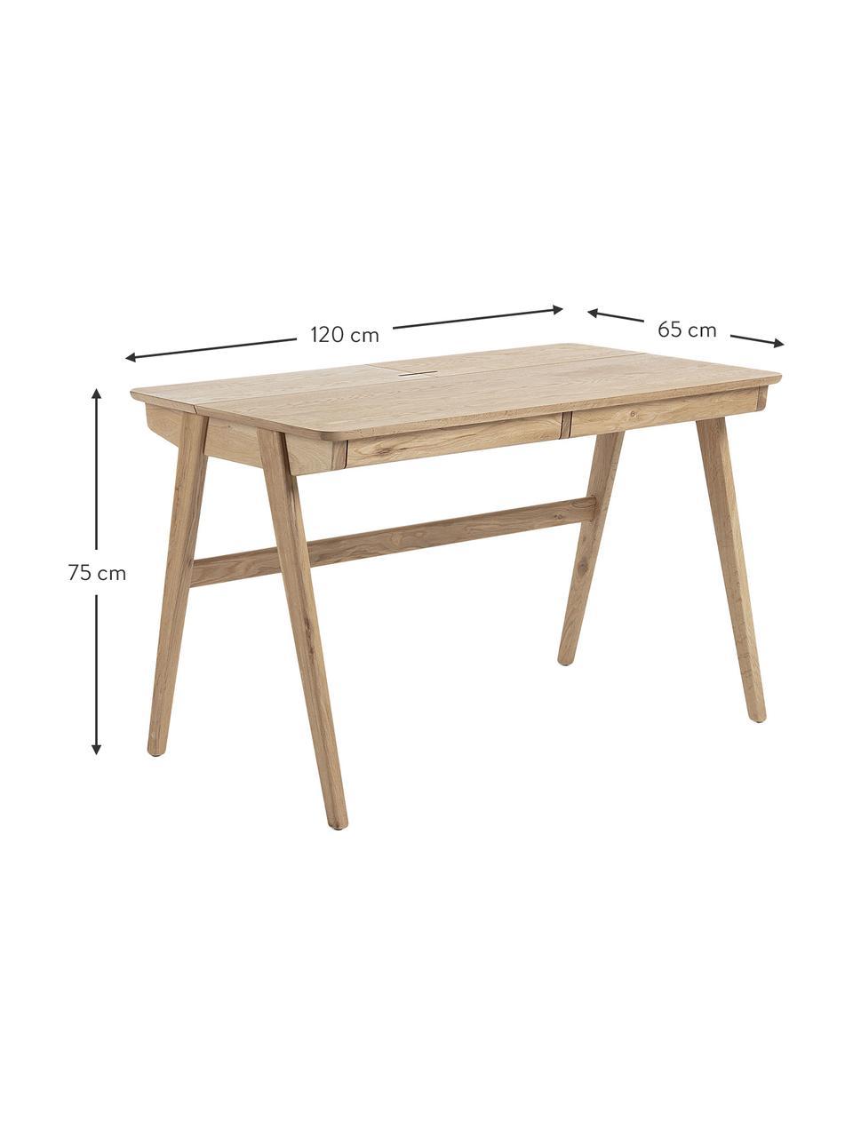 Holz-Schreibtisch Jacques mit Kabeldurchlass, Beine: Echenholz, massiv, Braun, 120 x 75 cm