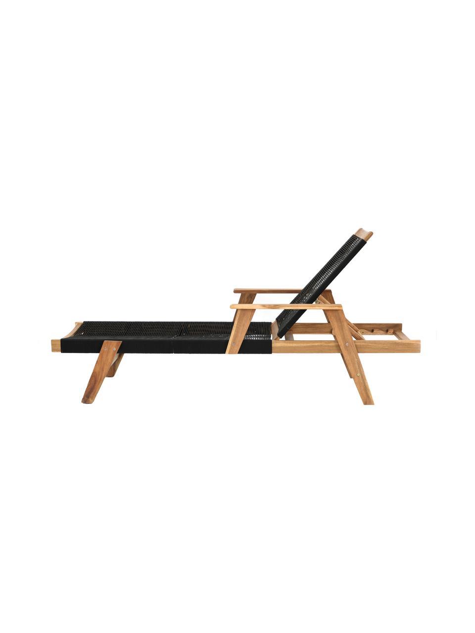 Lettino prendisole Little John, Superficie: corda rivestita, Struttura: legno di acacia, Nero, beige, Lung. 200 x Larg. 73 cm