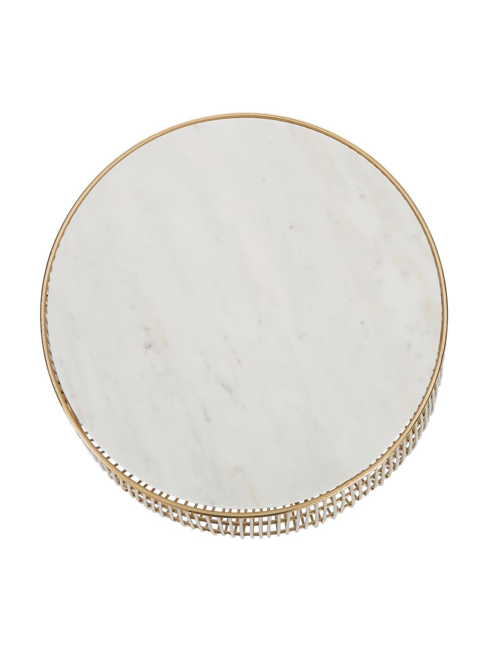 XS Beistelltisch Beam mit Marmor-Platte, Gestell: Metall, vermessingt, Tischplatte: Marmor, Weiß, Ø 32 x H 35 cm