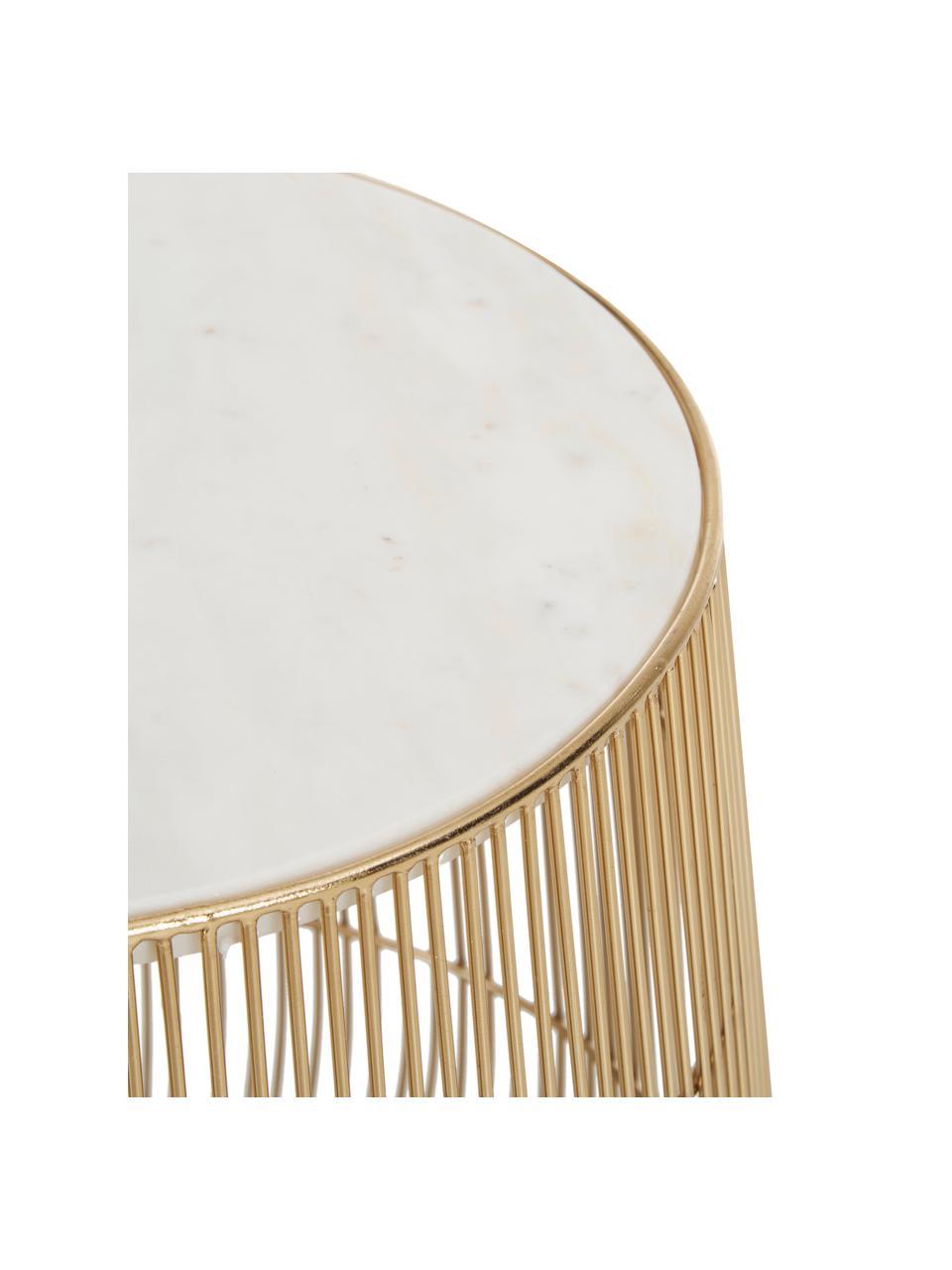 Tavolino con piano in marmo Beam, Struttura: metallo ottonato, Piano d'appoggio: marmo, Bianco, Ø 32 x Alt. 35 cm