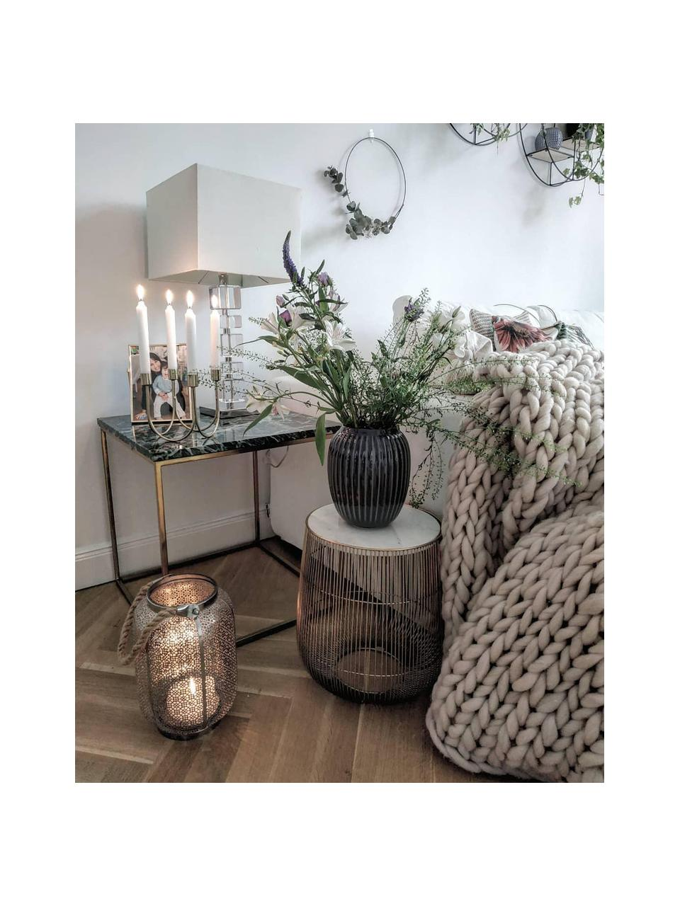 Stolik pomocniczy z marmurowym blatem XS Beam, Stelaż: metal mosiądzowany, Blat: marmur, Biały, Ø 32 x W 35 cm