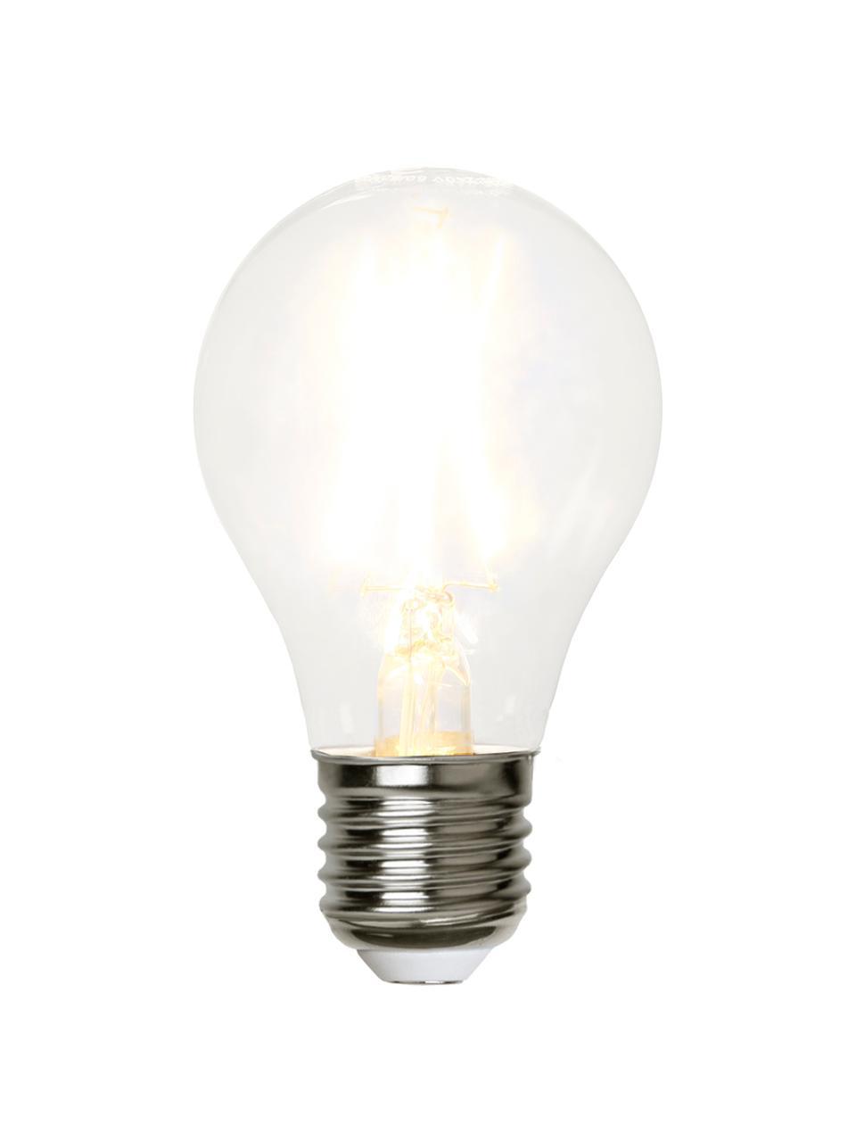 E27 Leuchtmittel, 2W, warmweiß, 5 Stück, Leuchtmittelschirm: Glas, Leuchtmittelfassung: Kupfer, vernickelt, Transparent, Nickel, Ø 6 x H 11 cm