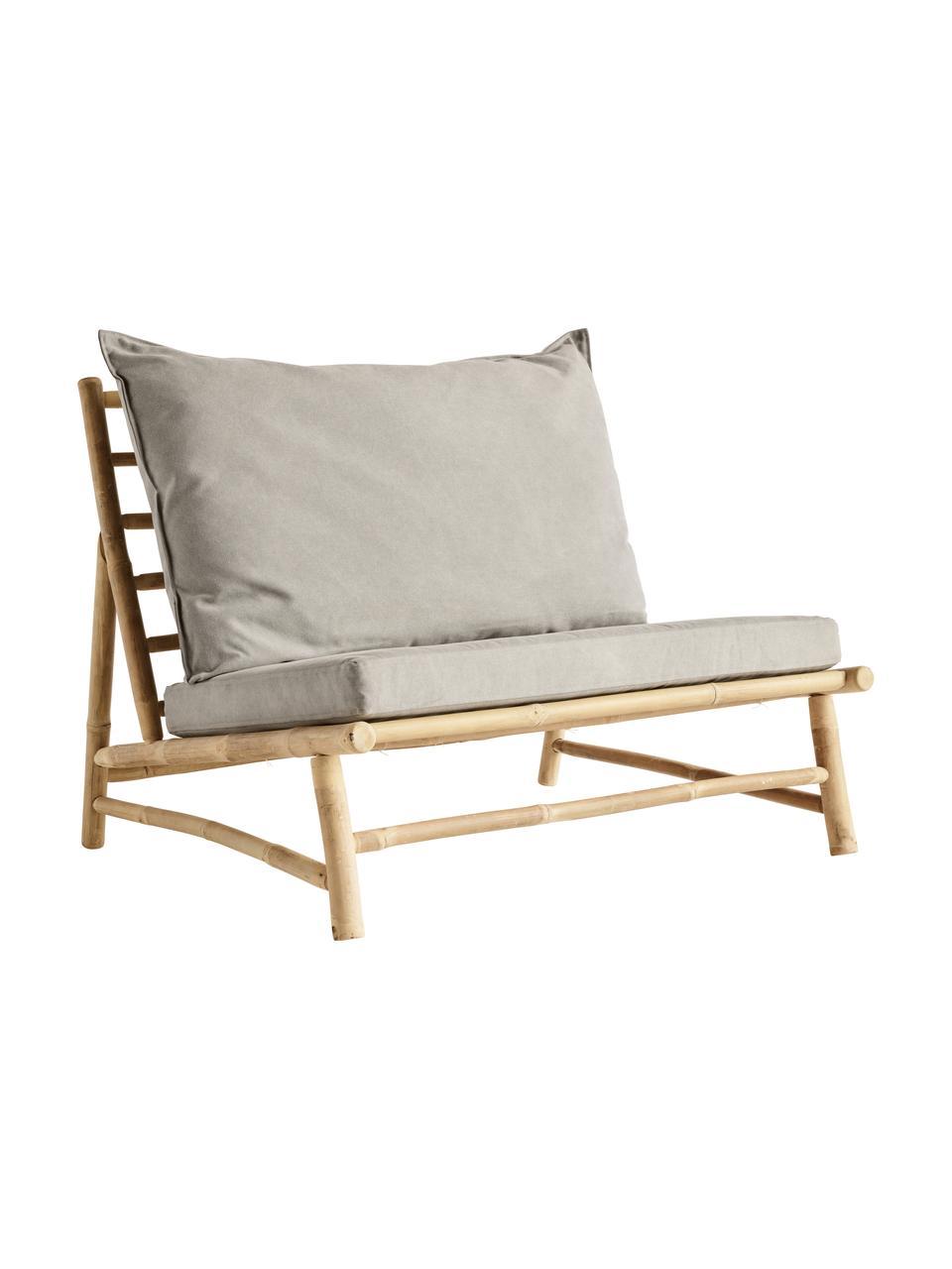 Fotel wypoczynkowy XL z drewna bambusowego Bamslow, Stelaż: drewno bambusowe, Tapicerka: 100% bawełna, Szary, brązowy, S 100 x G 87 cm