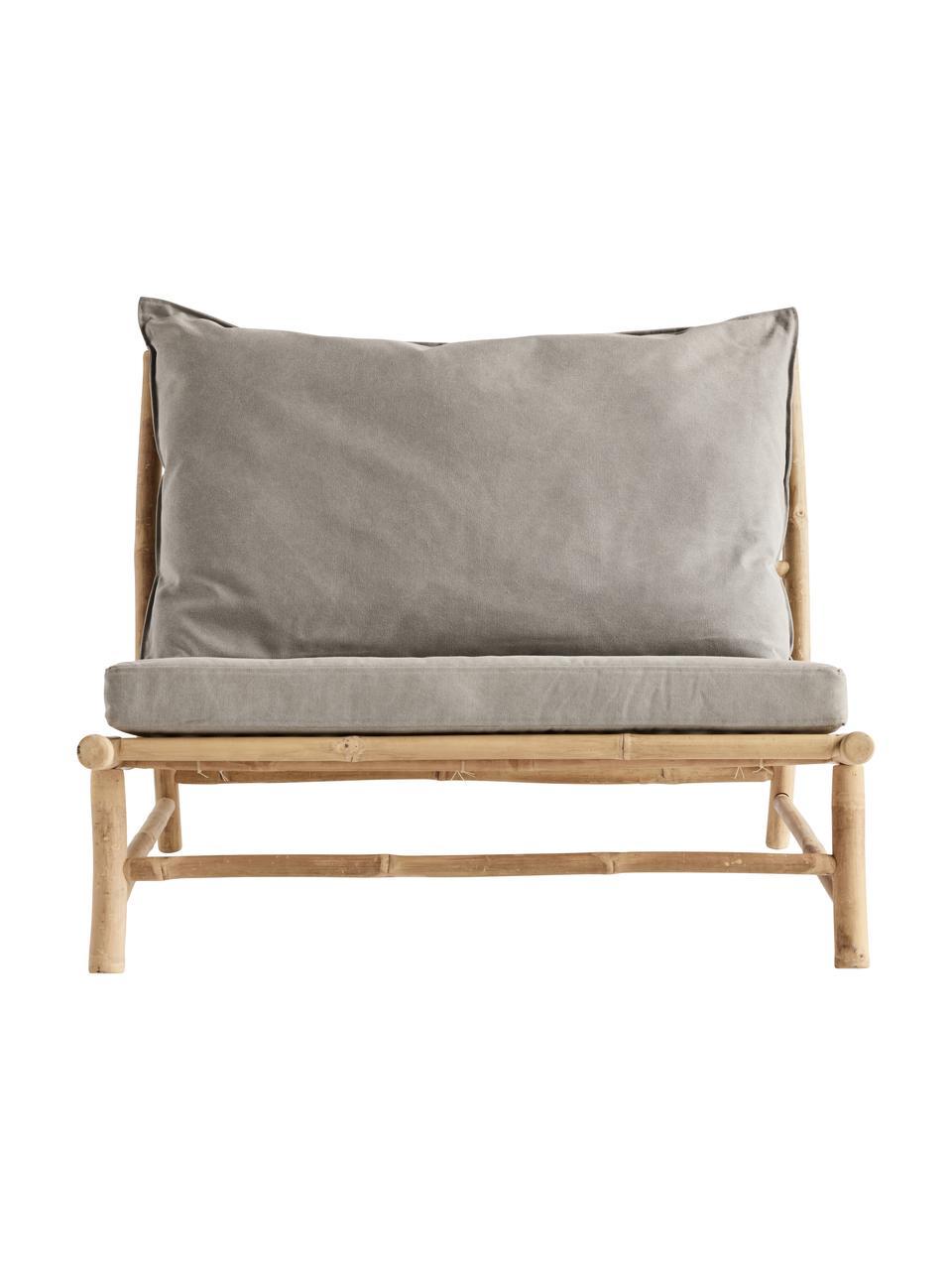 XL bamboe loungefauteuil Bamslow met bekleding, Frame: bamboe, Bekleding: 100% katoen, Grijs, bruin, 100 x 87 cm
