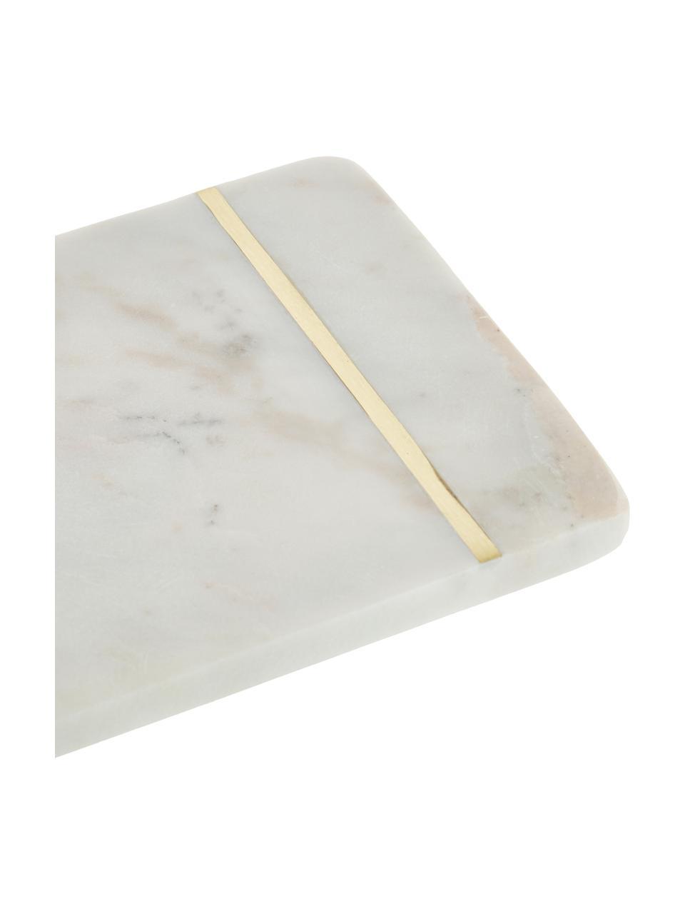 Marmeren snijplank Strip, L 37 x B 15 cm, Ophanglus: leer, Wit, goudkleurig, 15 x 37 cm