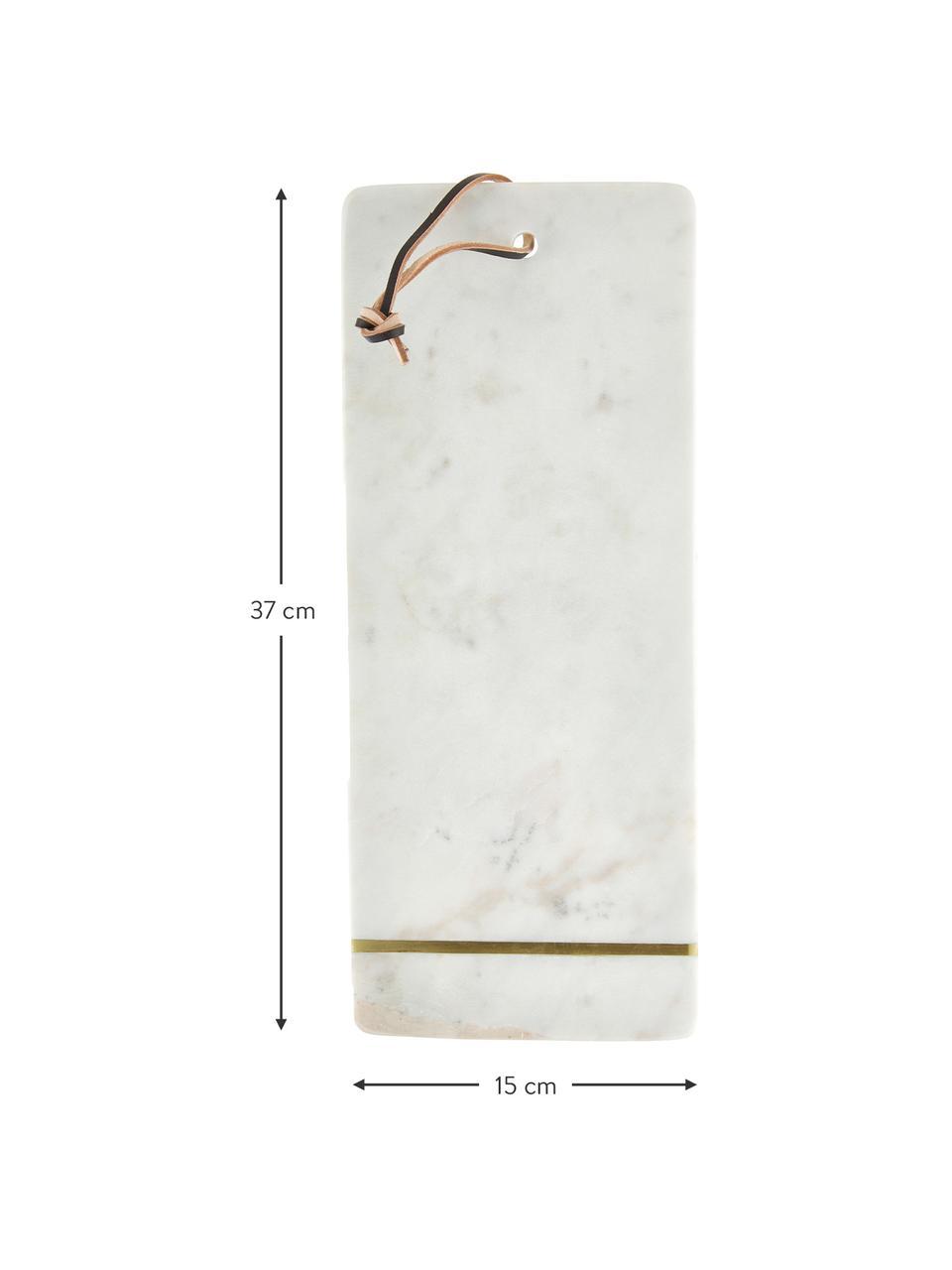 Tagliere in marmo Strip, 37x15 cm, Bianco, dorato, Lung. 37 x Larg. 15 cm