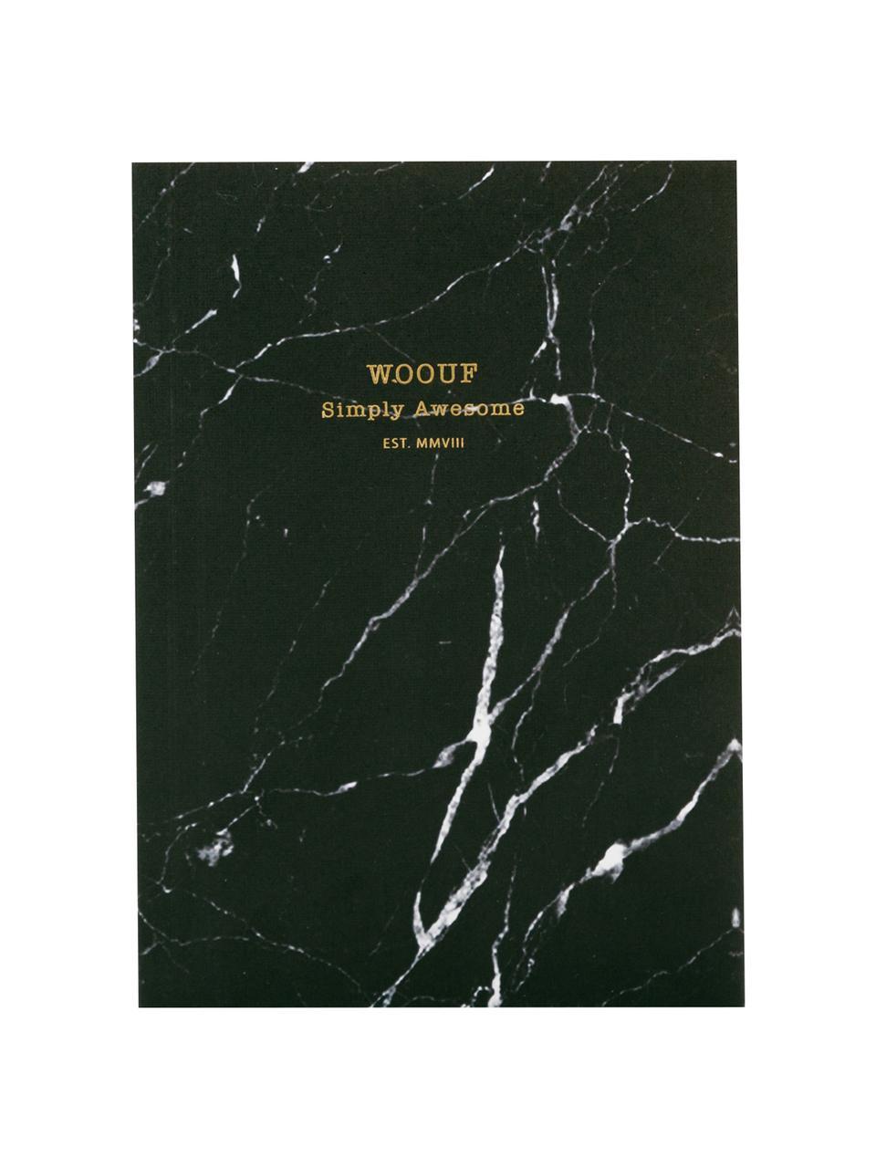 Notizbuch Black Marble, Papier, Schwarz, 11 x 15 cm