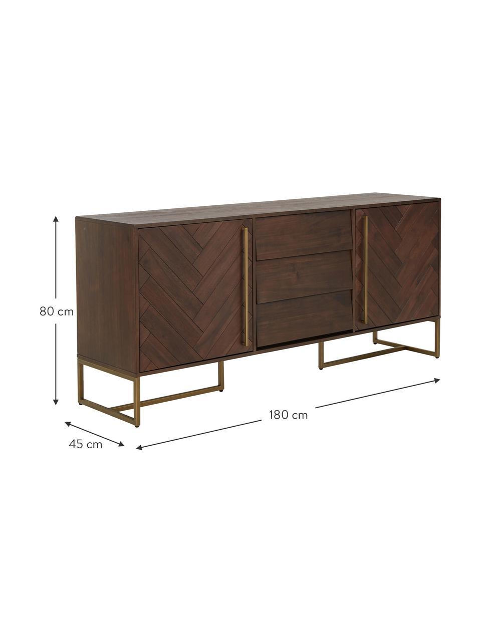 Visgraat dressoir Class met deuren en acaciahout fineer, Frame: MDF met acaciahoutfineer, Acaciahoutkleurig, messingkleurig, 180 x 80 cm